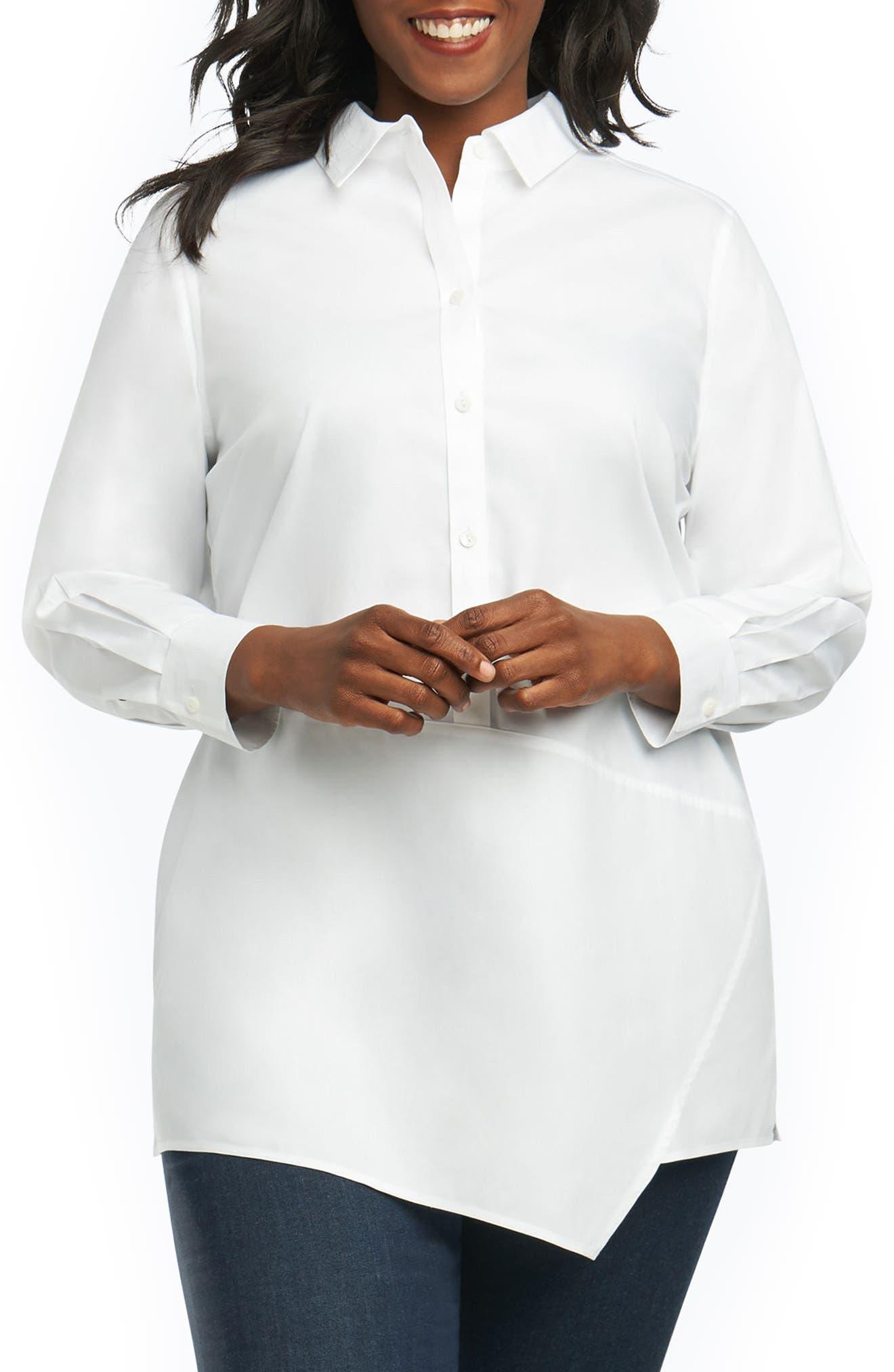 Foxcroft Arden Cotton Tunic Shirt (Plus Size)