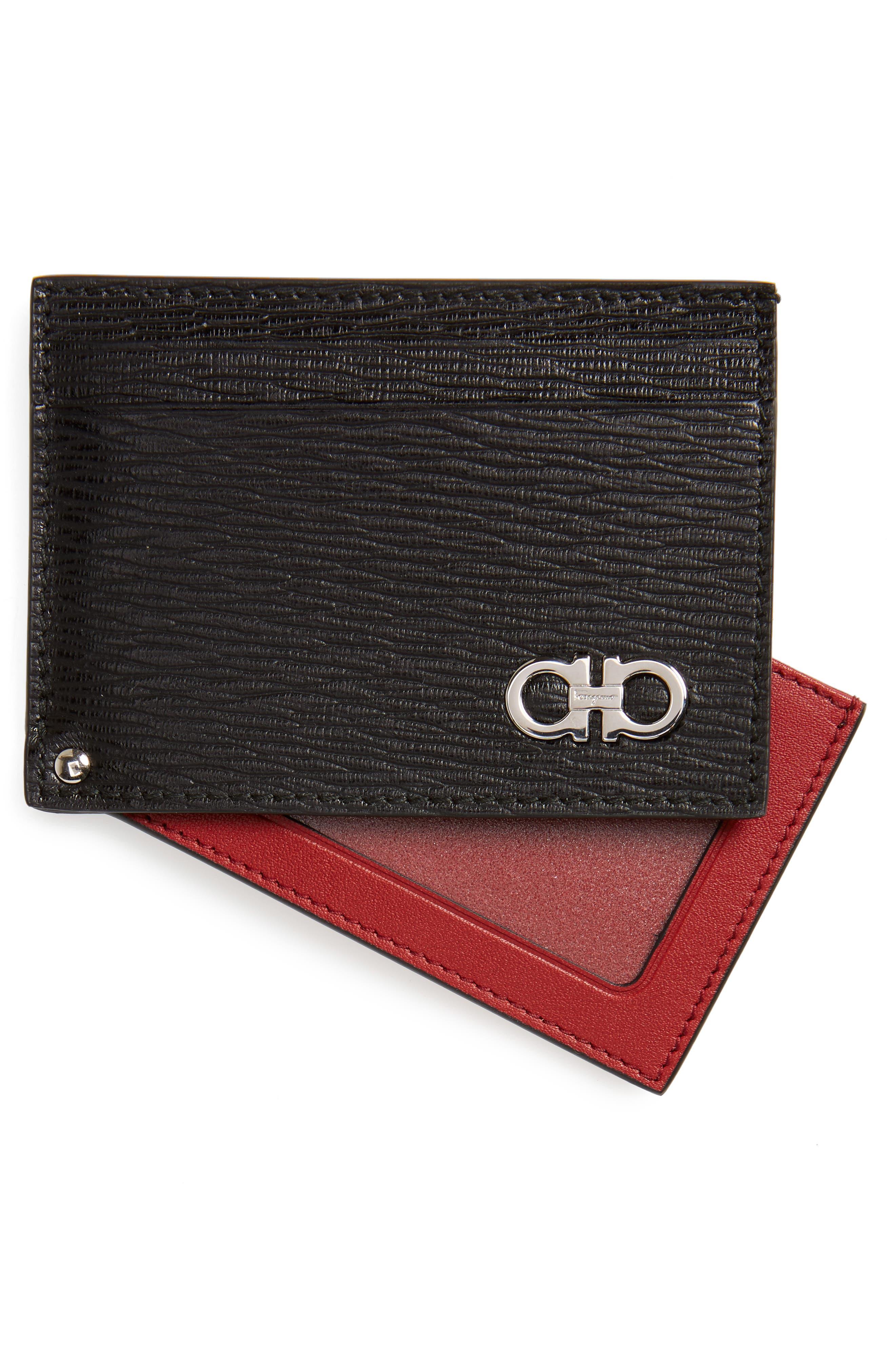 Revival Calfskin Leather Card Case,                             Alternate thumbnail 3, color,                             Black