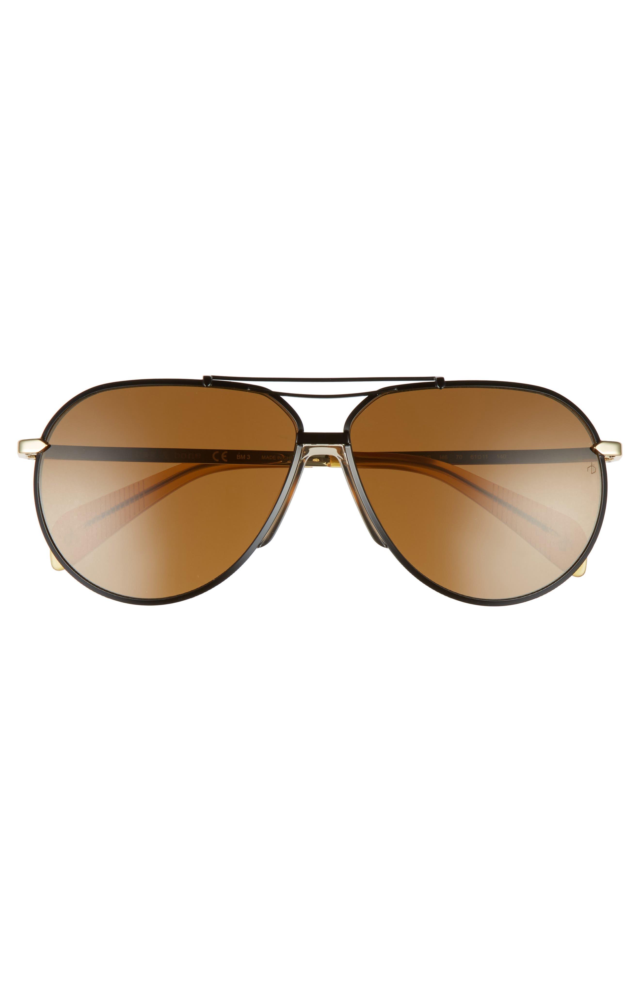 61mm Aviator Sunglasses,                             Alternate thumbnail 2, color,                             Black Gold