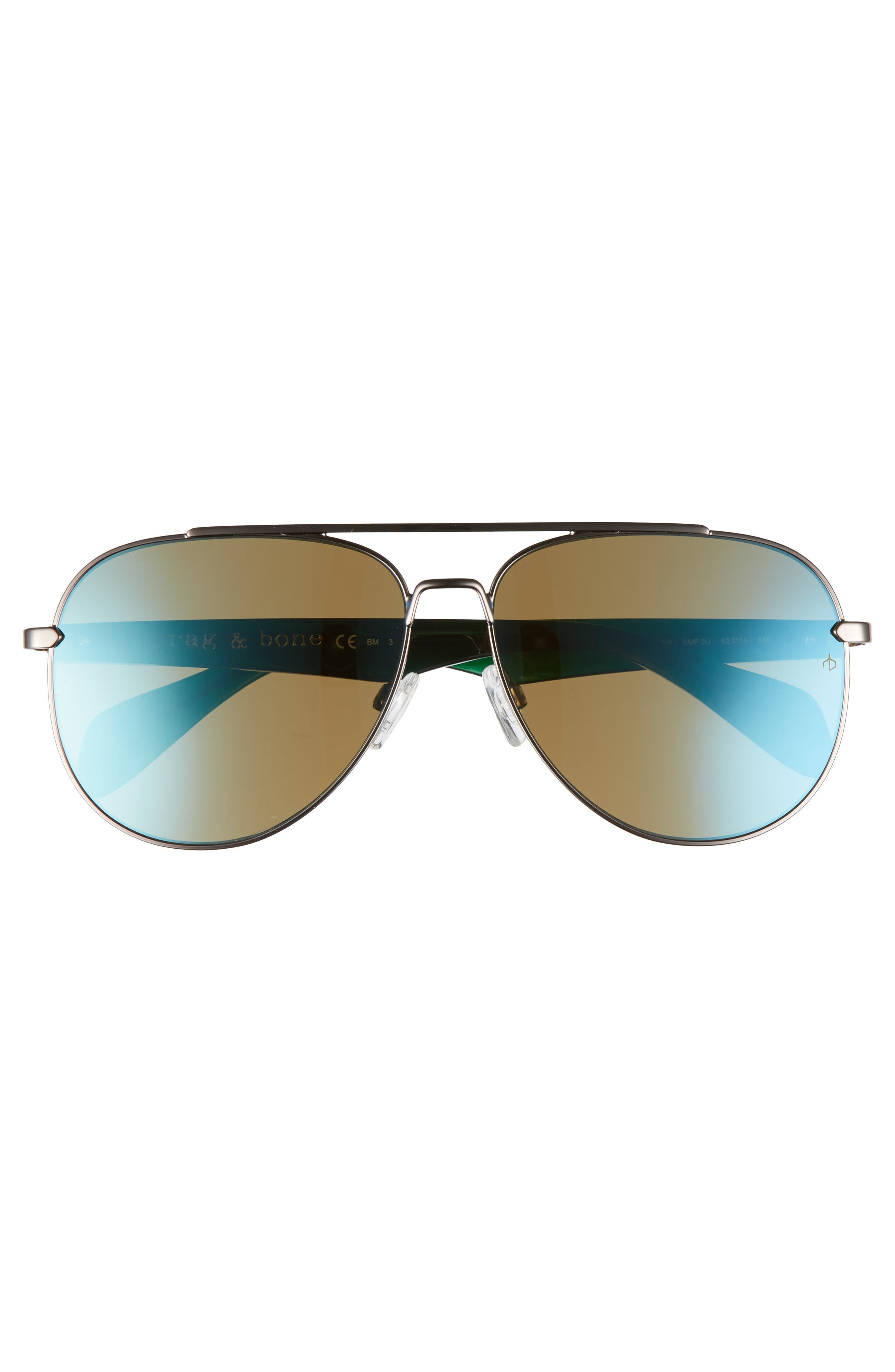 62mm Mirrored Aviator Sunglasses,                             Alternate thumbnail 2, color,                             Ruthenium Khaki/ Blue