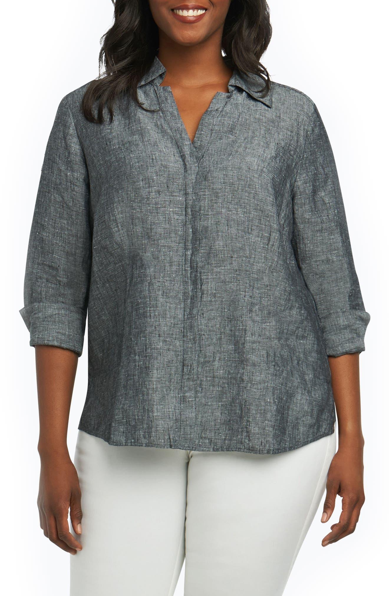 Foxcroft Taylor Three Quarter Sleeve Linen Shirt (Plus Size)
