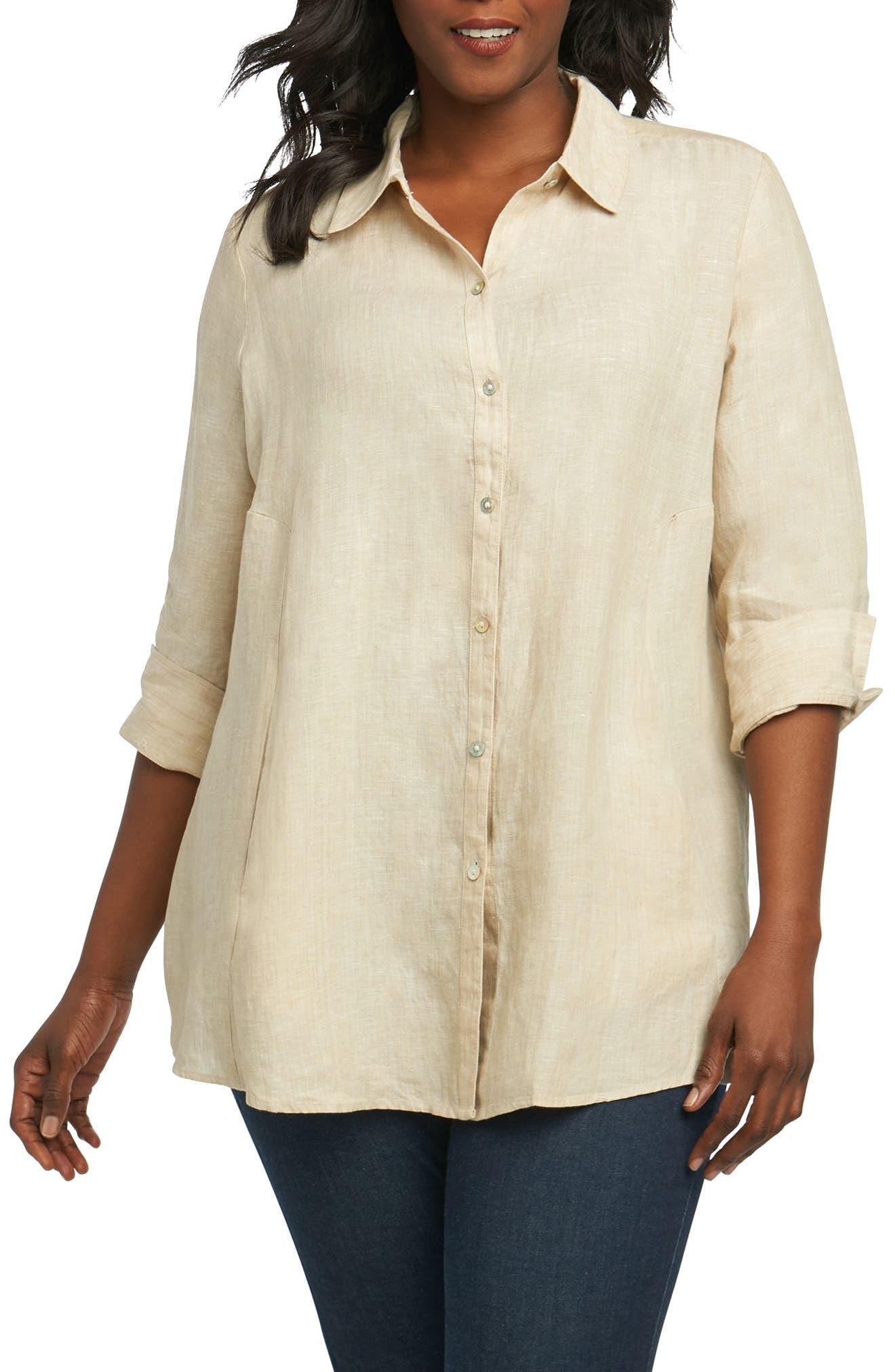 Foxcroft Cici Linen Chambray Shirt (Plus Size)