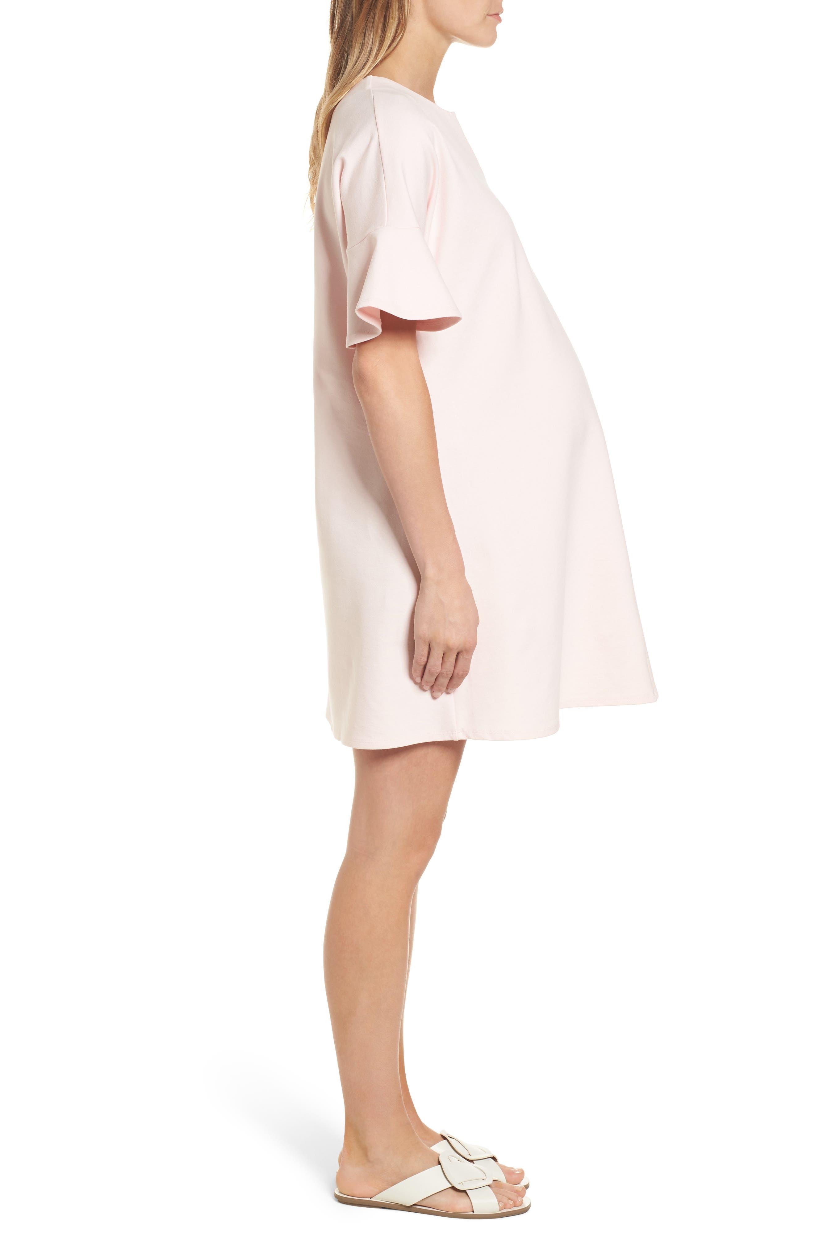 Reese Ponte Maternity Dress,                             Alternate thumbnail 3, color,                             Soft Blush