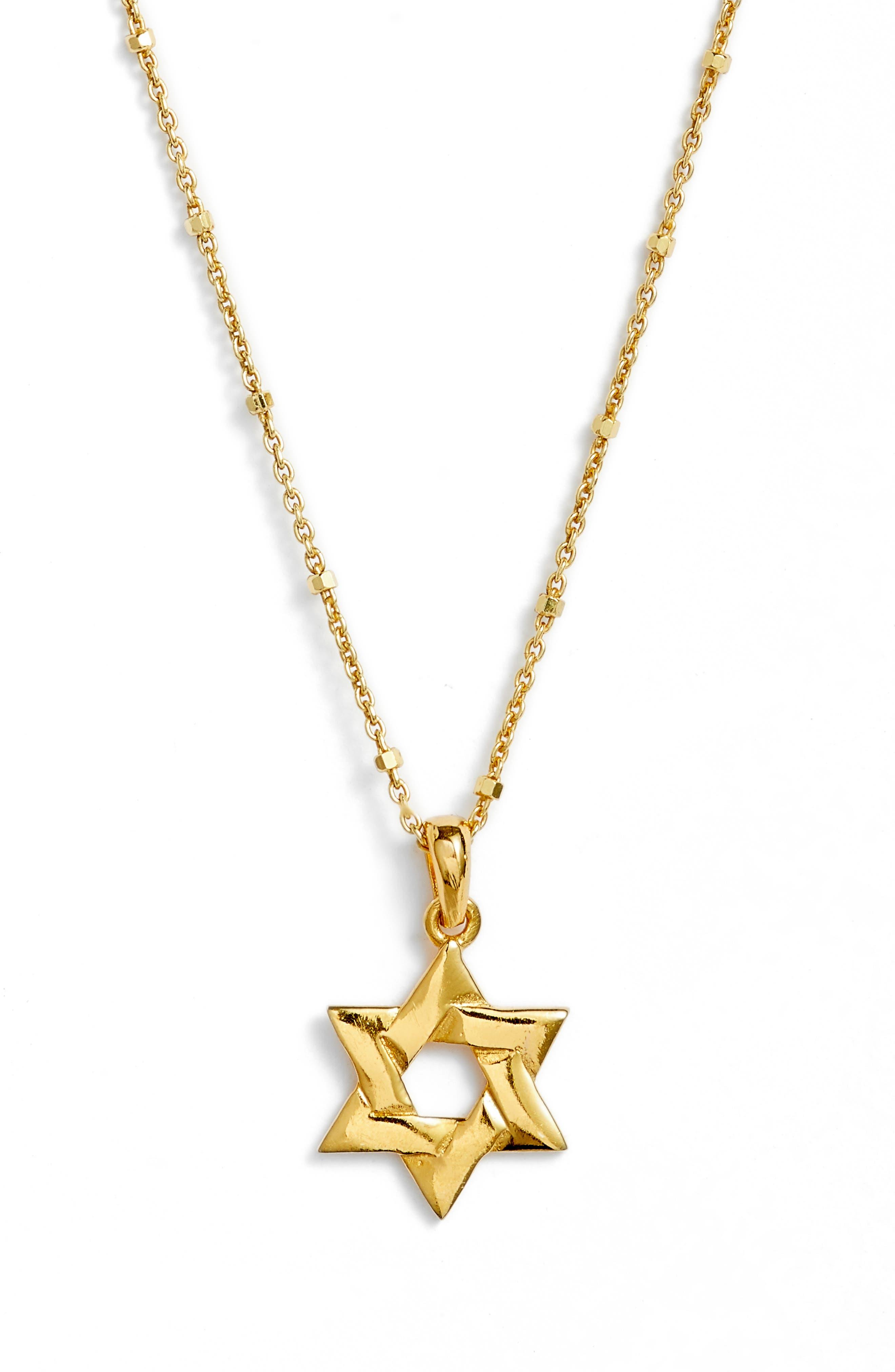 Star of David Pendant Necklace,                             Main thumbnail 1, color,                             Gold