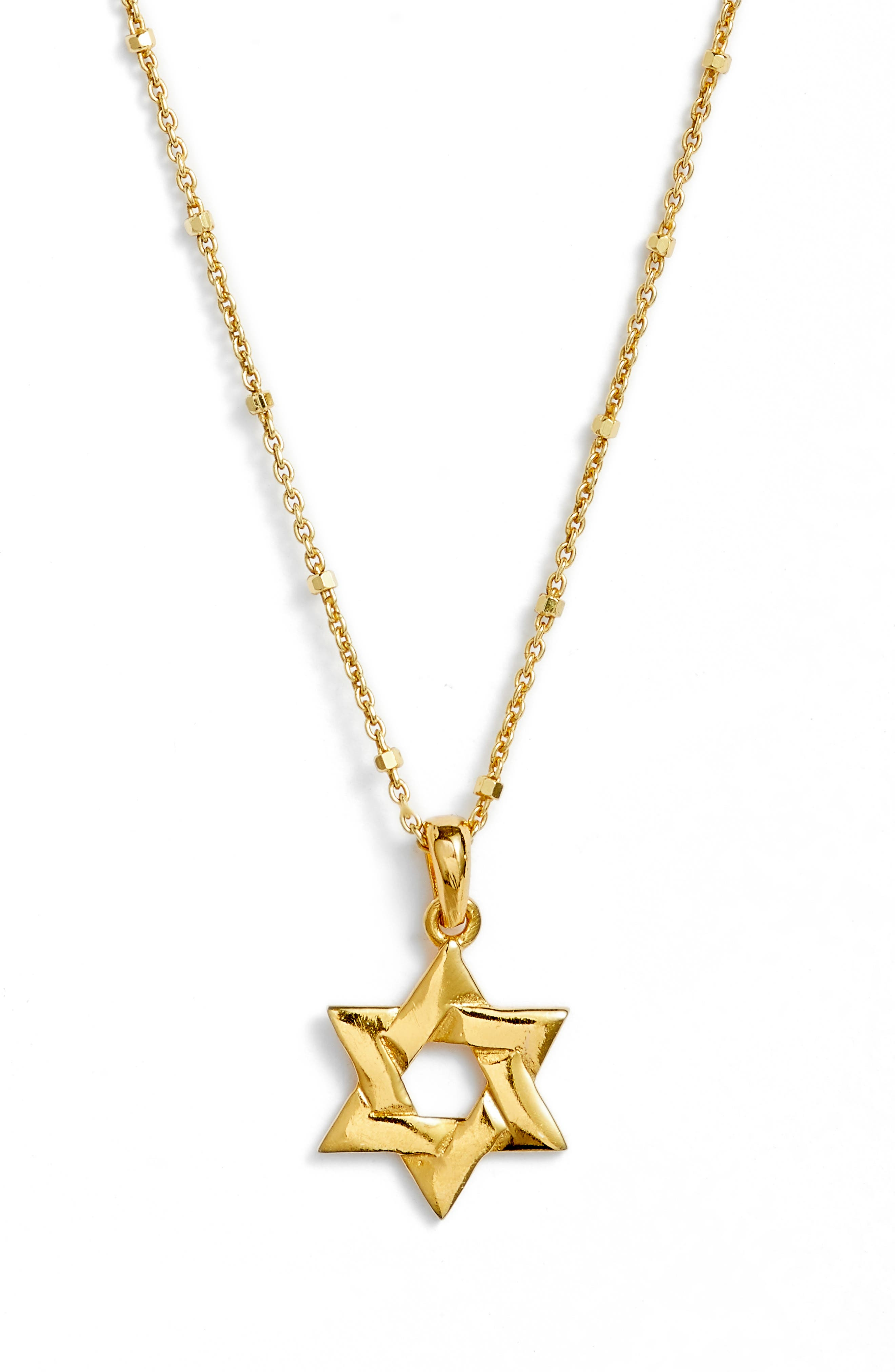 Star of David Pendant Necklace,                         Main,                         color, Gold