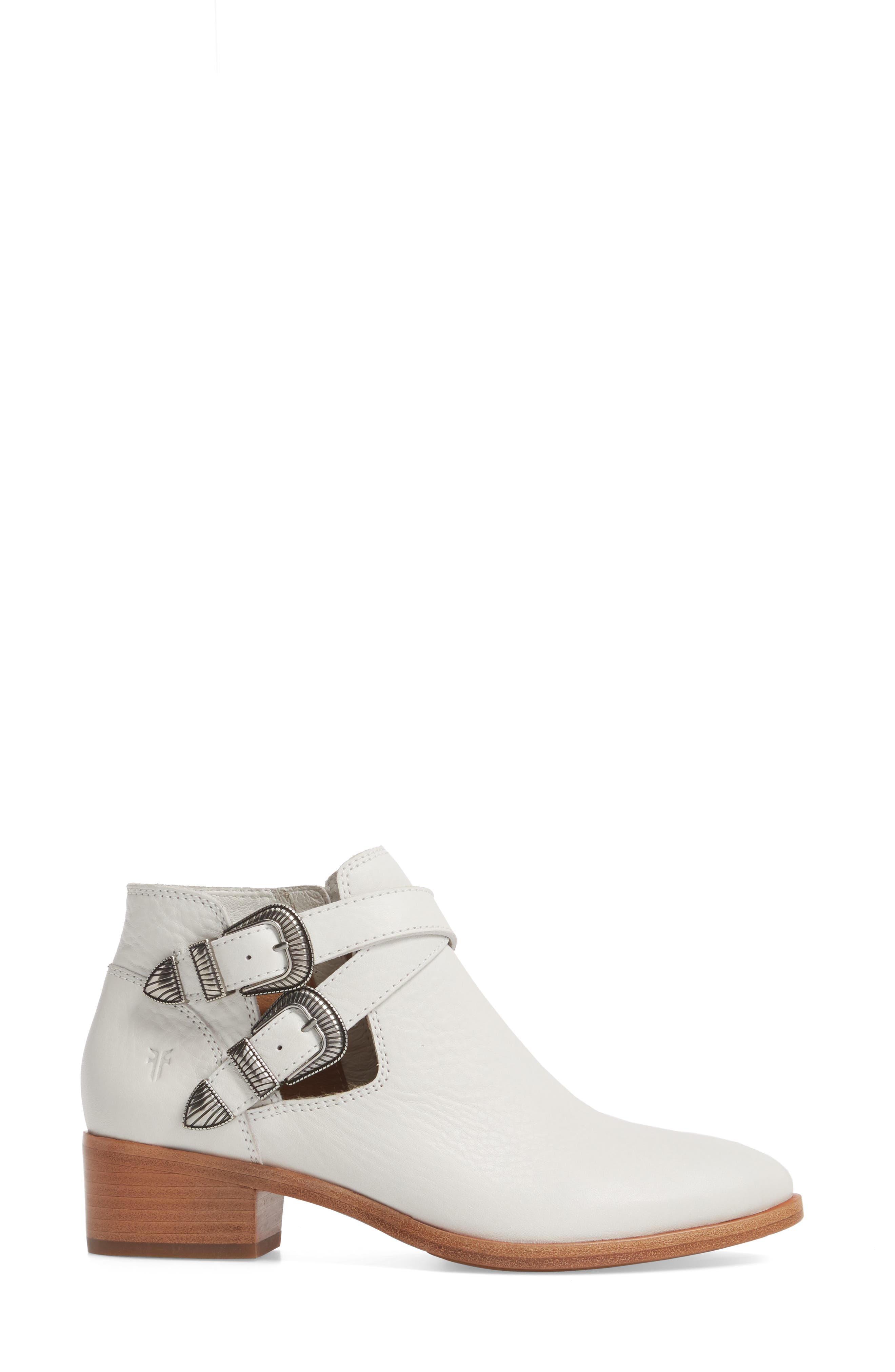 Ray Western Bootie,                             Alternate thumbnail 3, color,                             White/ White Leather