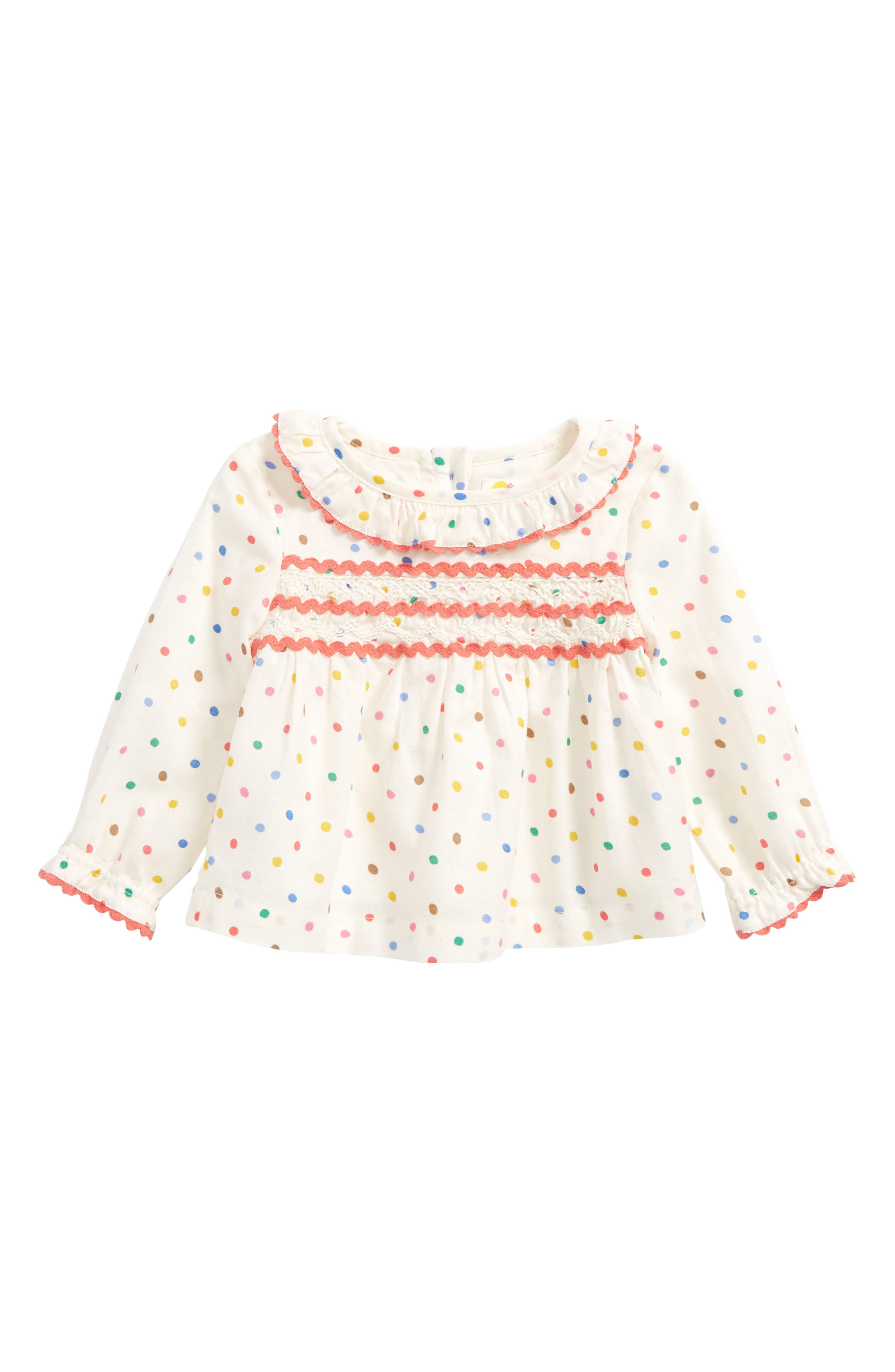 Mini Boden Ruffle Woven Top (Baby Girls & Toddler Girls)