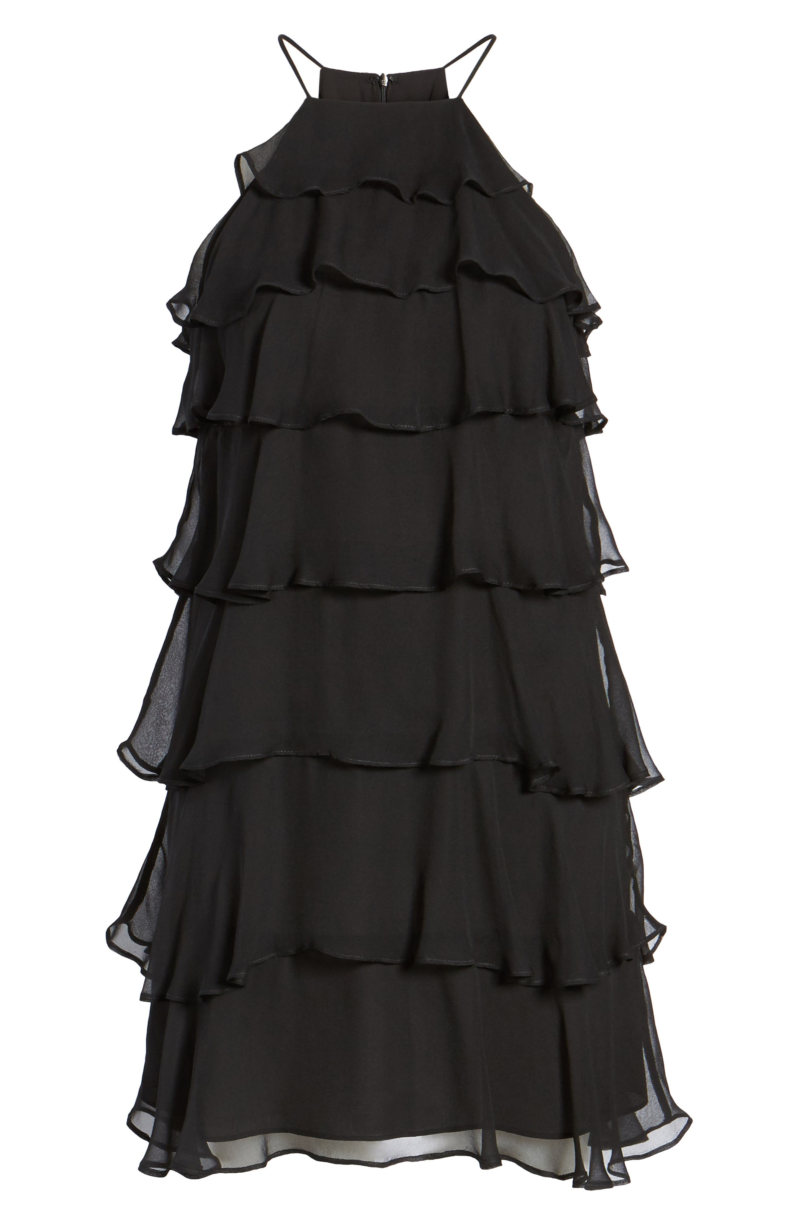 Delectable Tiered Silk Dress,                             Alternate thumbnail 6, color,                             Black