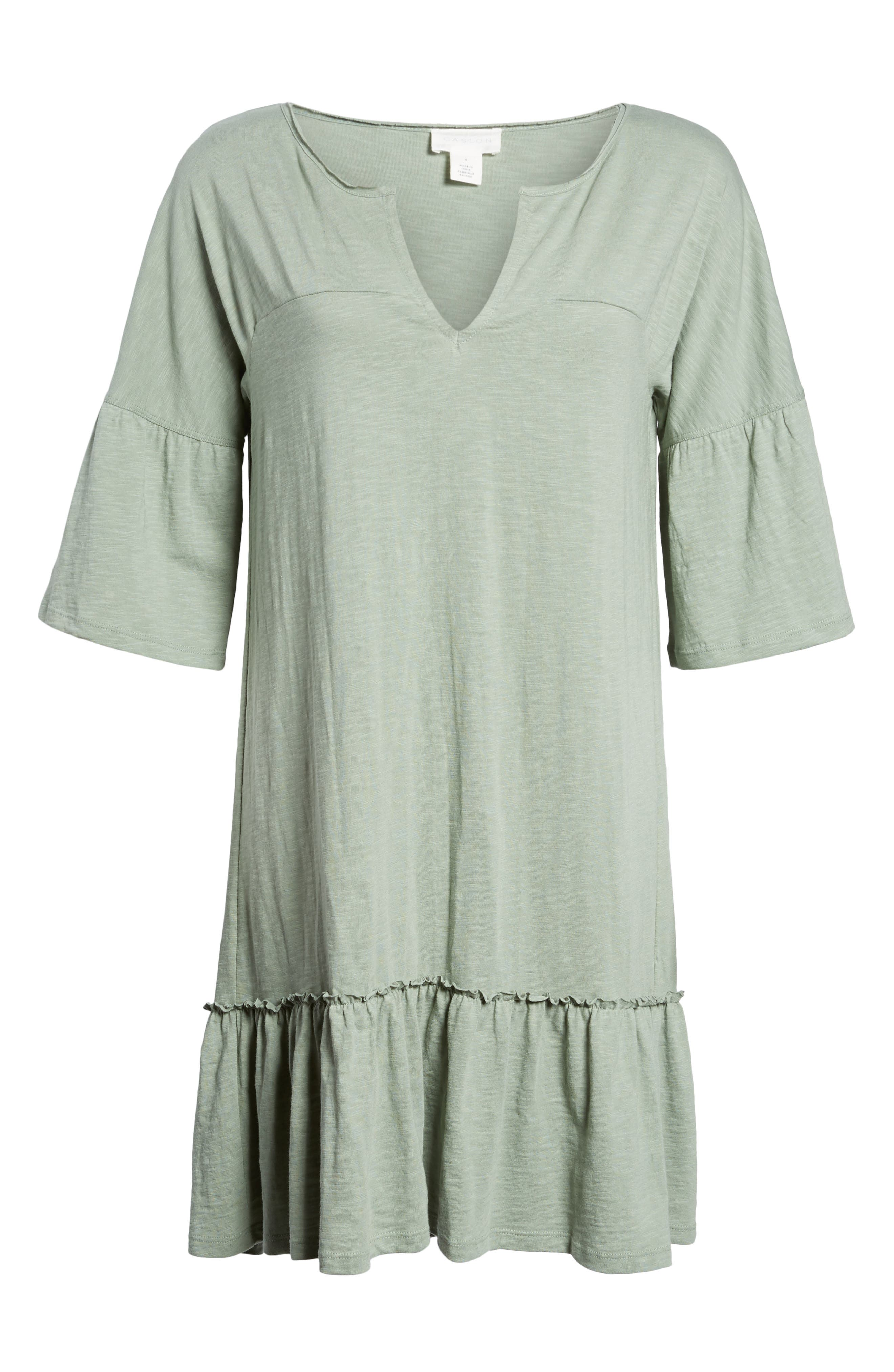 Ruffle Sleeve Cotton Dress,                             Alternate thumbnail 6, color,                             Green Lilypad