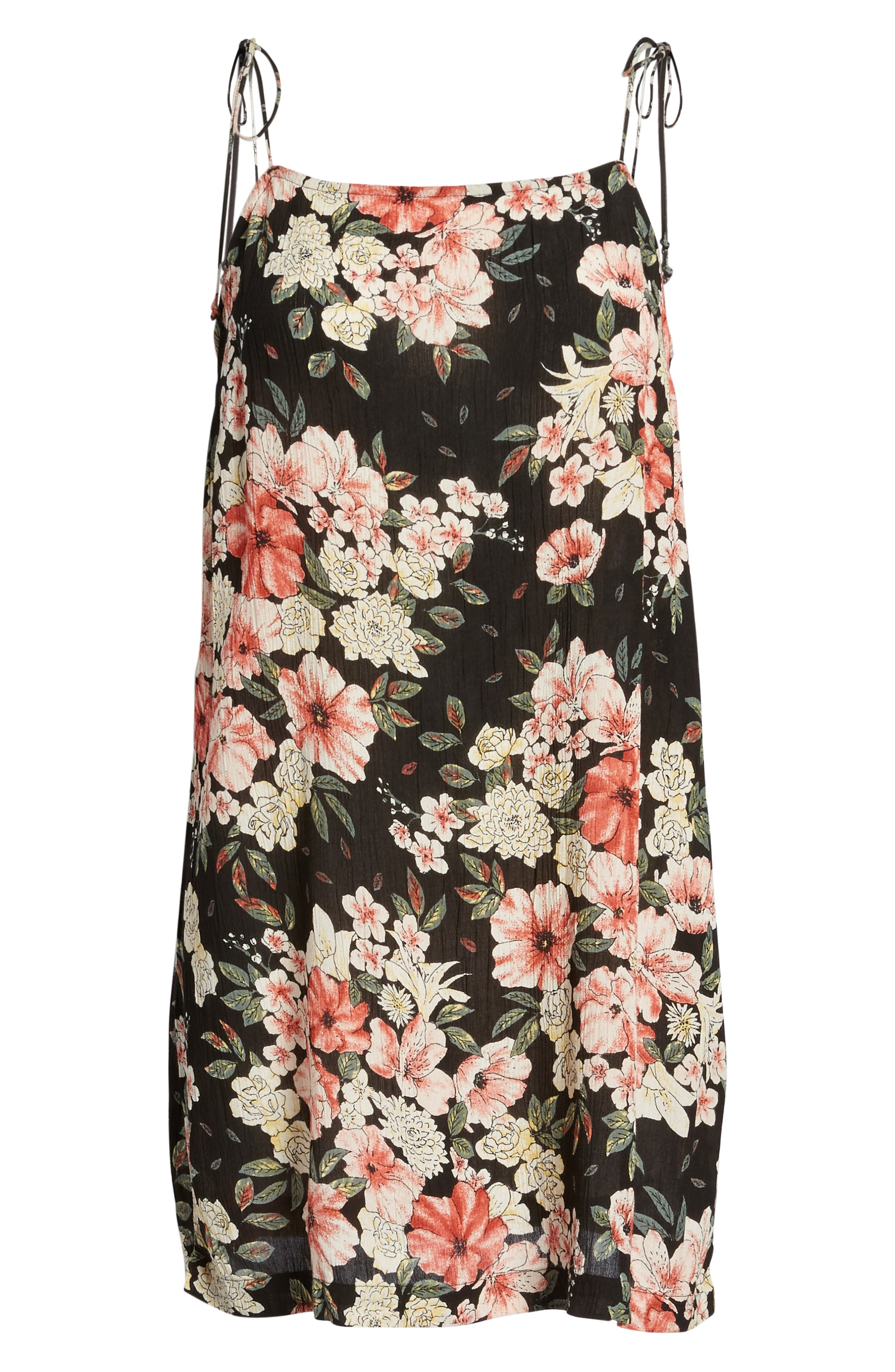 Nights Out Floral Slipdress,                             Alternate thumbnail 6, color,                             Black