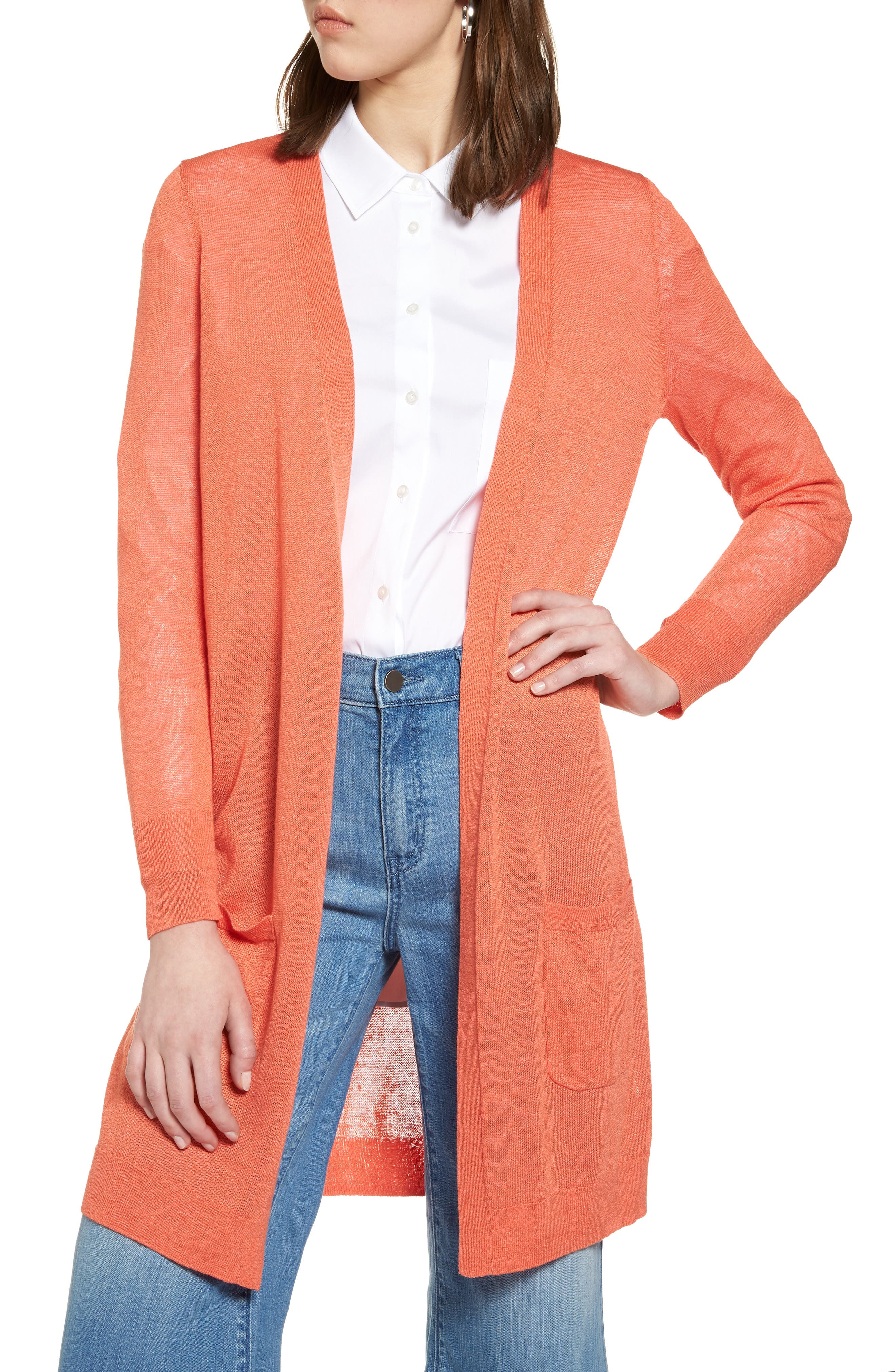 Halogen® Long Linen Blend Cardigan (Regular & Petite)