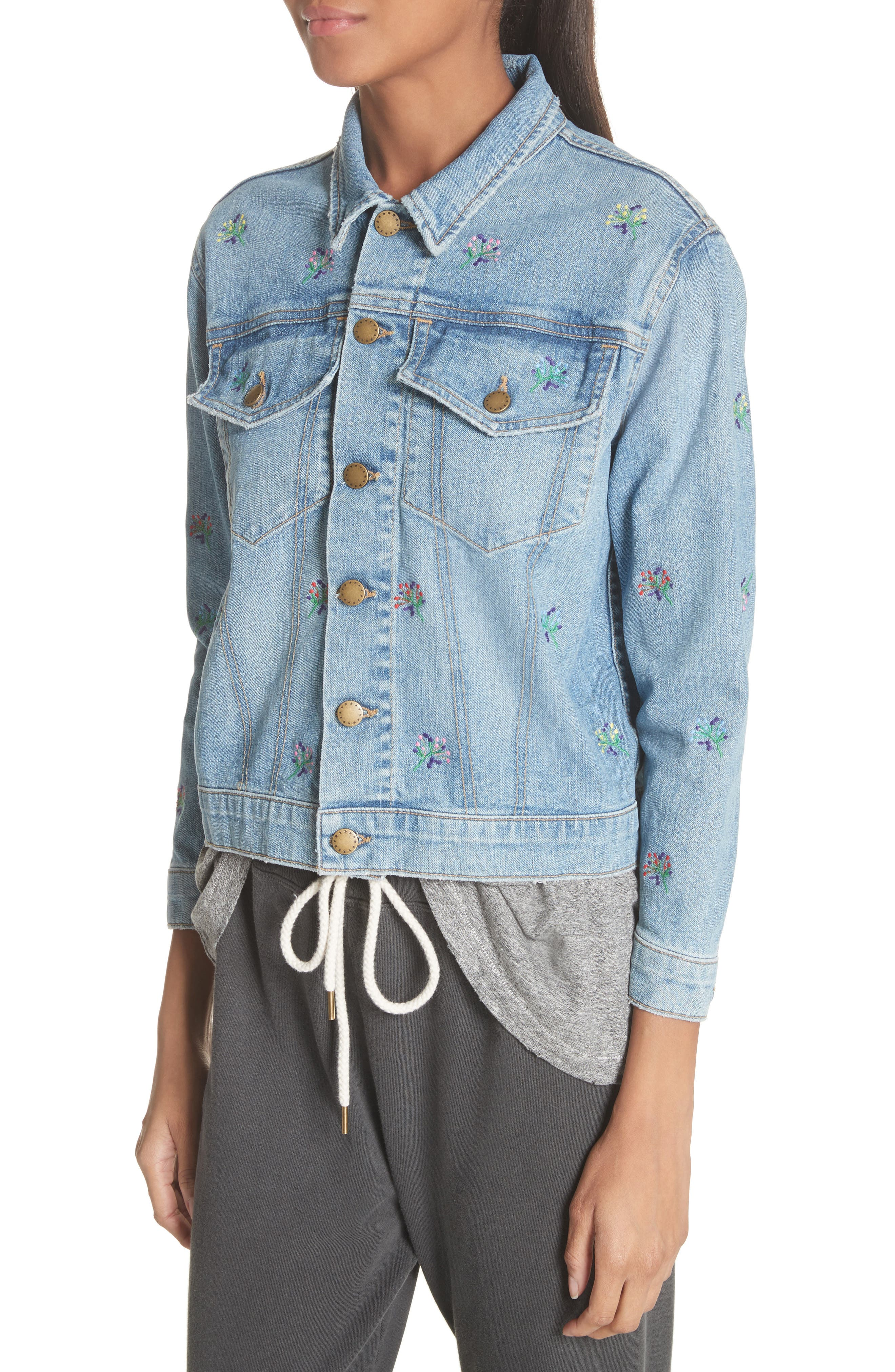 The Boxy Jean Jacket,                             Alternate thumbnail 4, color,                             Canteen Wash W/ Flower Emb