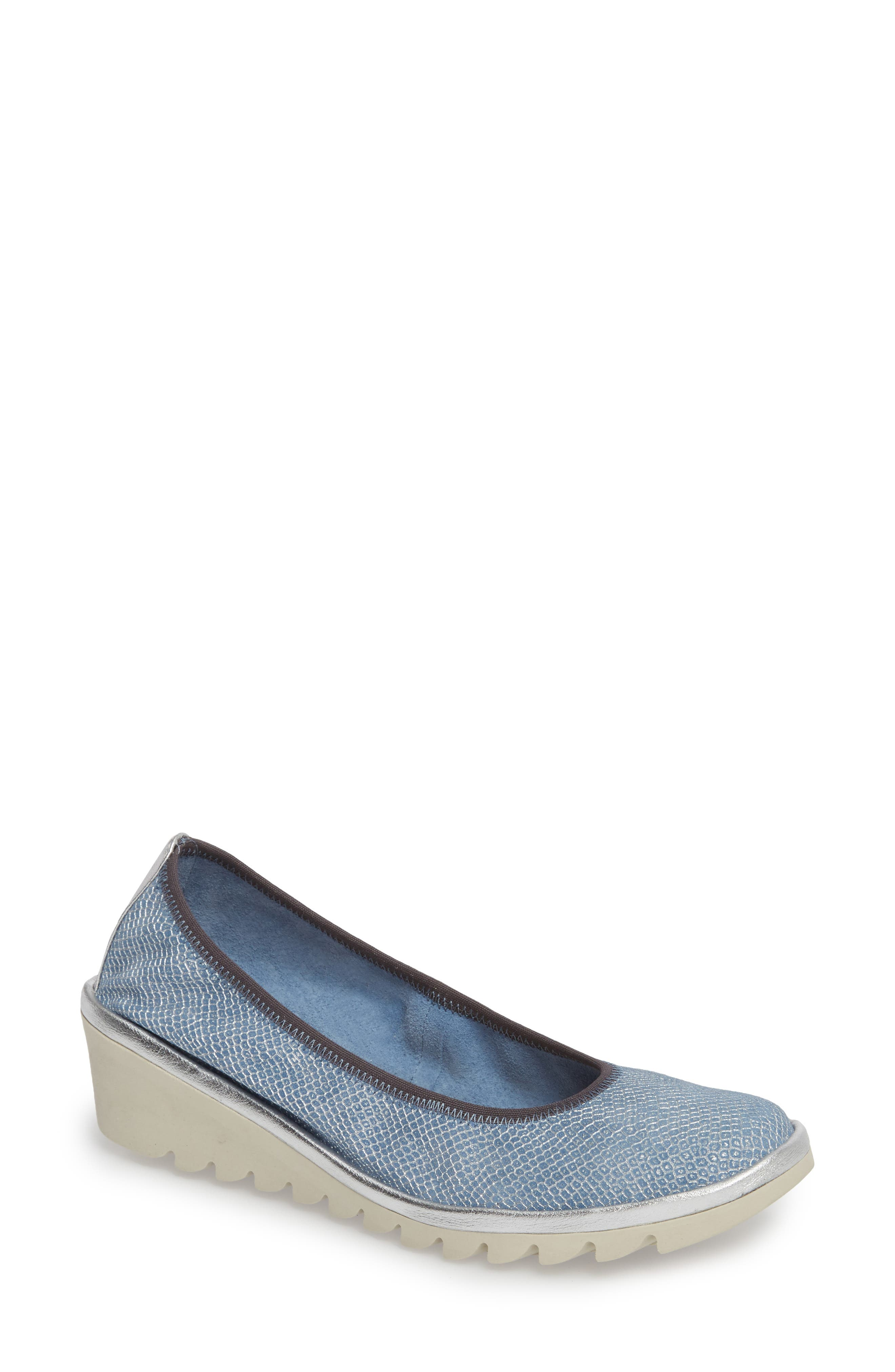 Mel A Drama Wedge Skimmer,                             Main thumbnail 1, color,                             Denim Leather