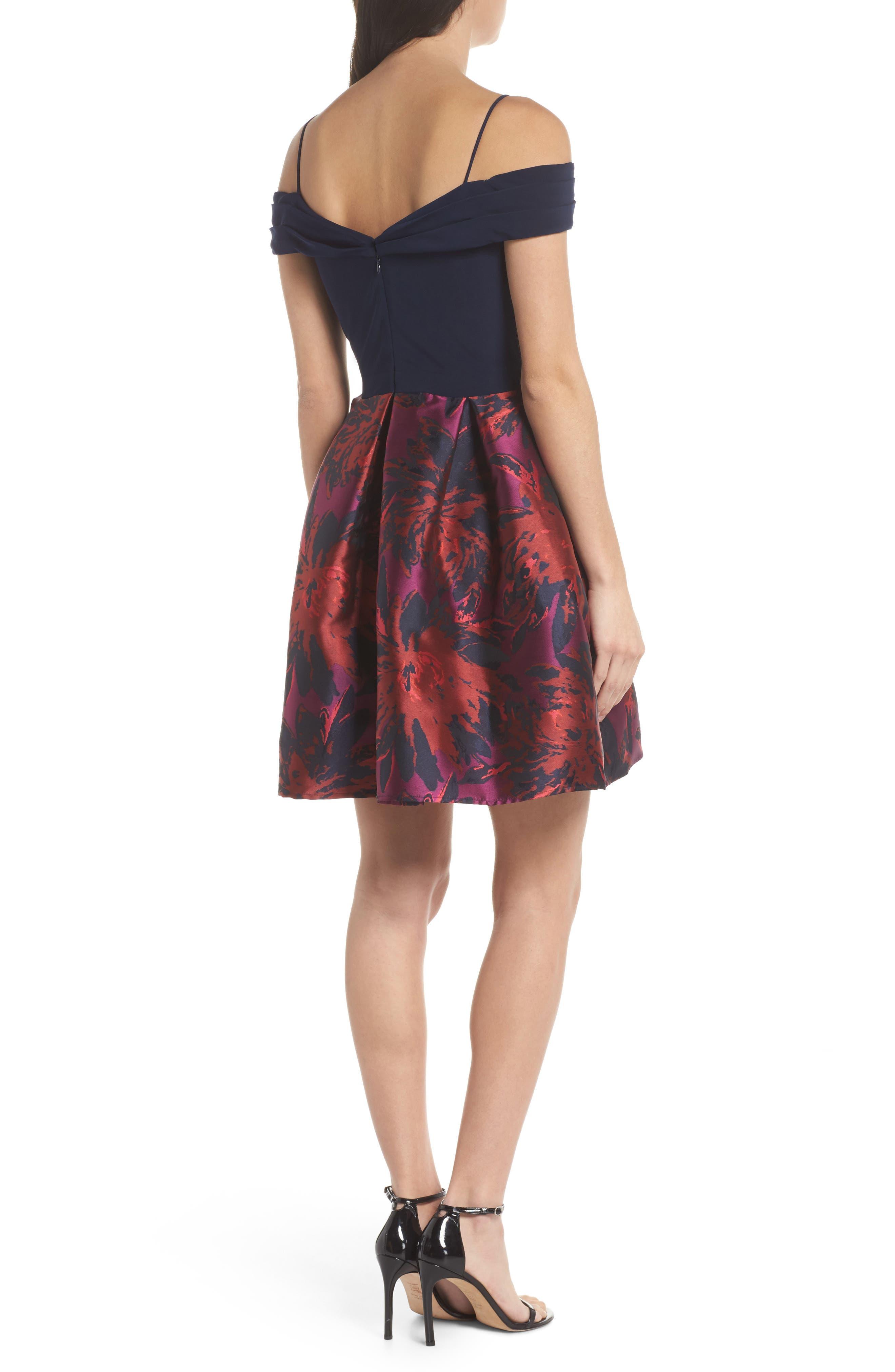 Cold Shoulder Fit & Flare Dress,                             Alternate thumbnail 2, color,                             Navy/ Wine