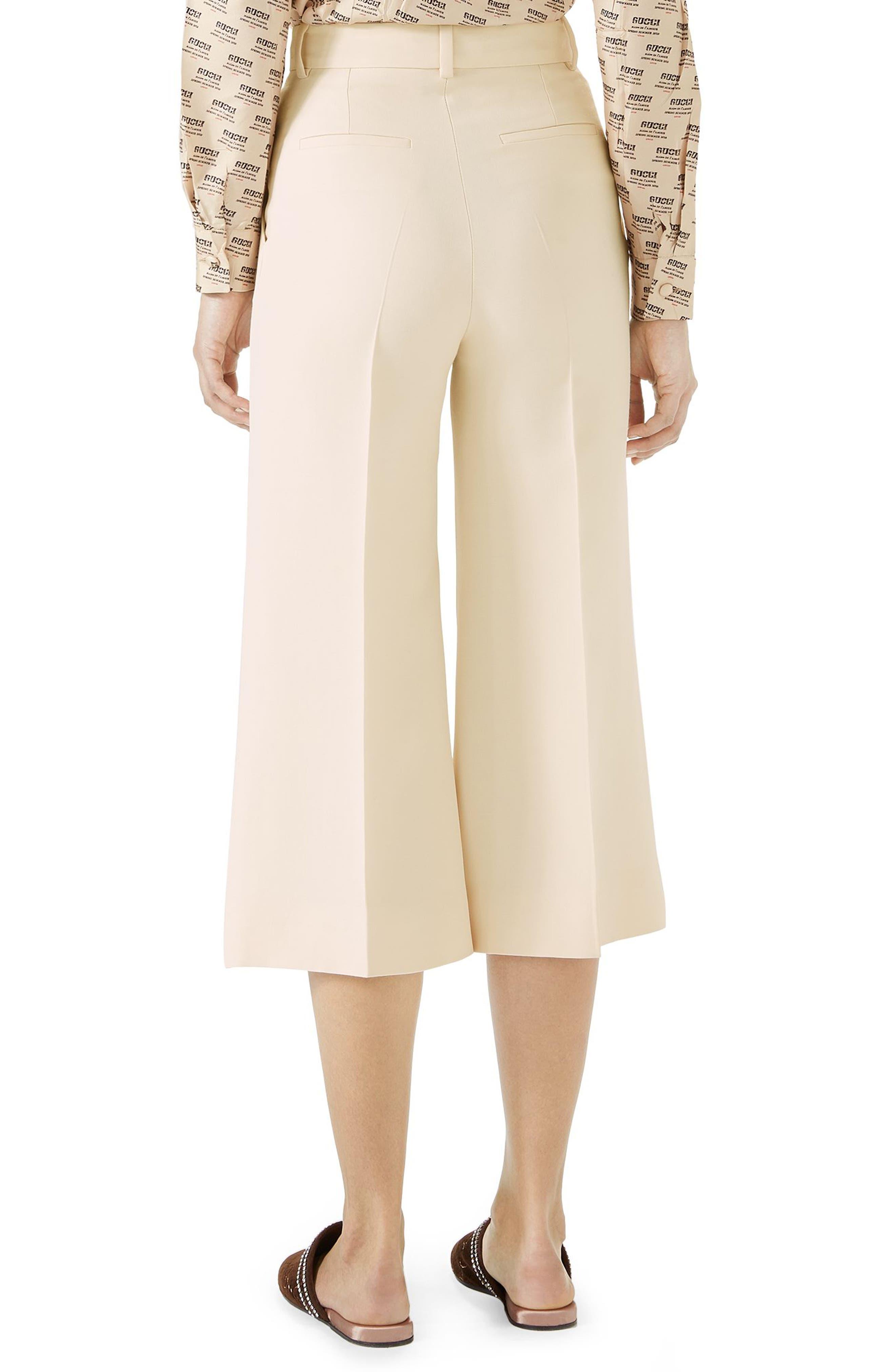 Wool & Silk Cady Wide Leg Crop Pants,                             Alternate thumbnail 2, color,                             Gardenia