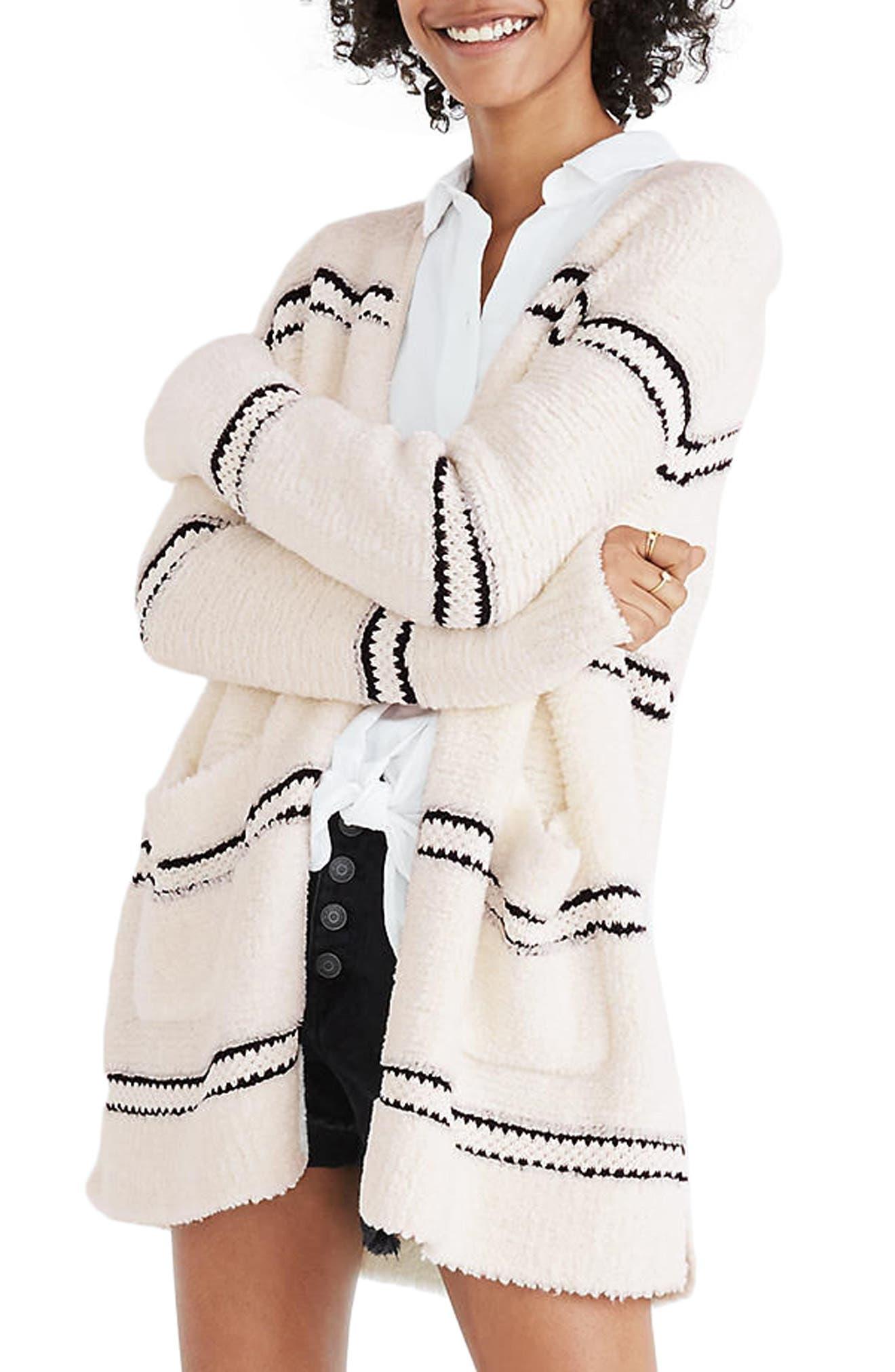 Stripe Bouclé Cardigan Sweater,                             Main thumbnail 1, color,                             Bright Ivory