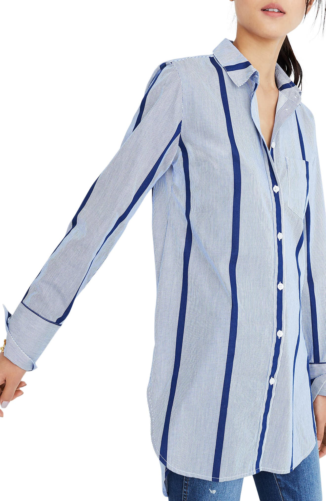 Stripe Button Down Tunic Shirt,                             Main thumbnail 1, color,                             Jordan Stripe Midnight