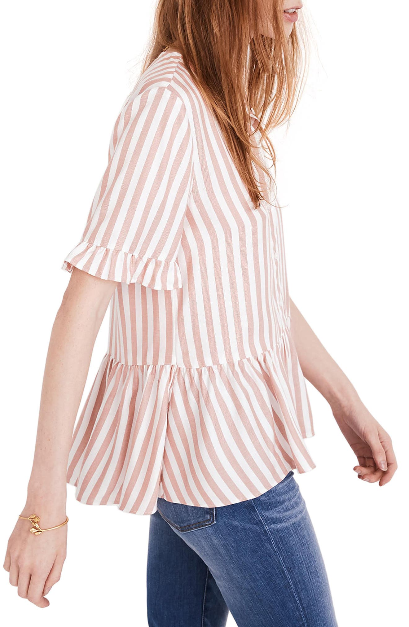 Studio Ruffle Hem Top,                             Alternate thumbnail 2, color,                             Neat Stripe Dried Coral