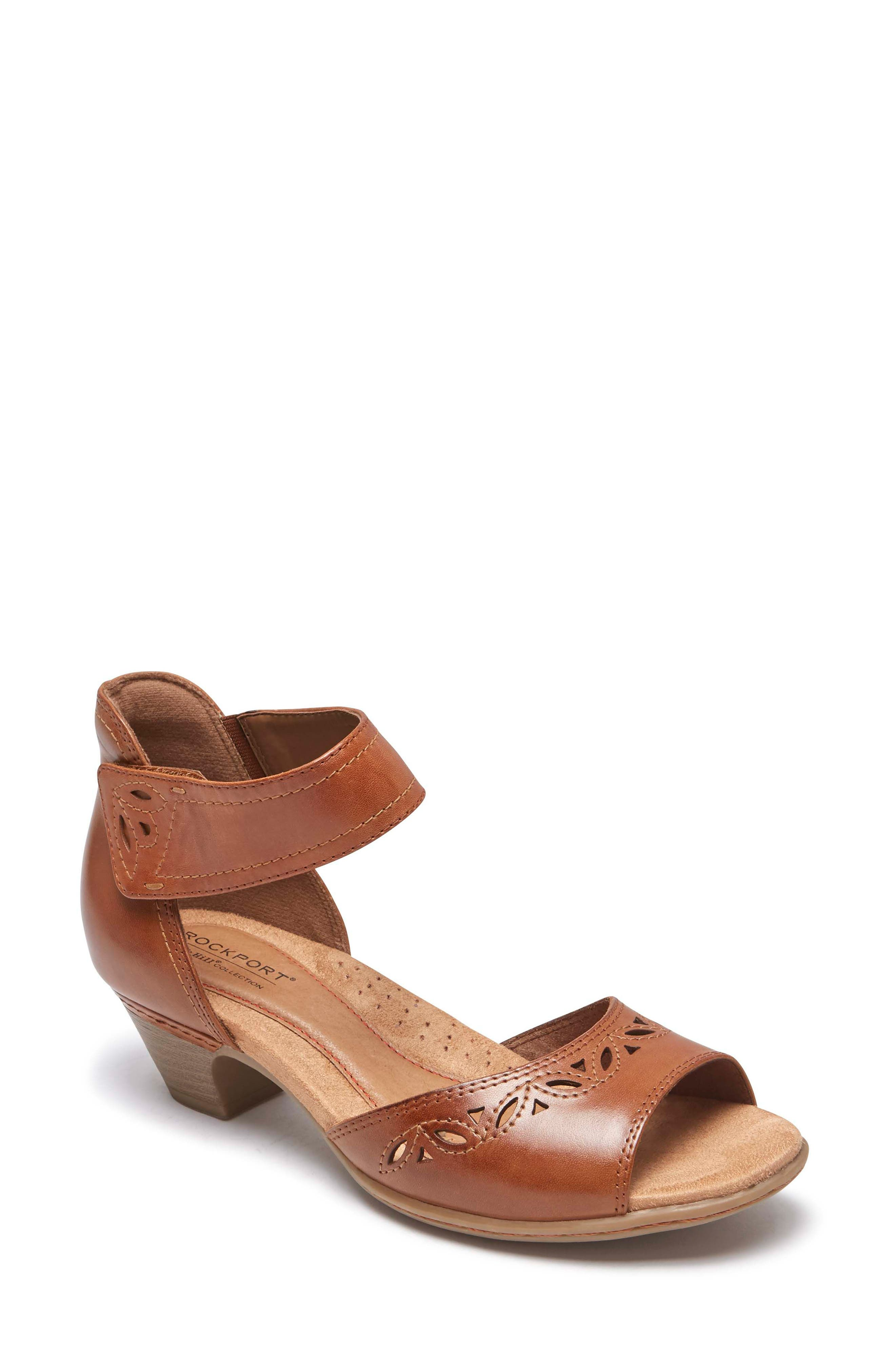 Abbott Perforated Sandal,                         Main,                         color, Tan Leather