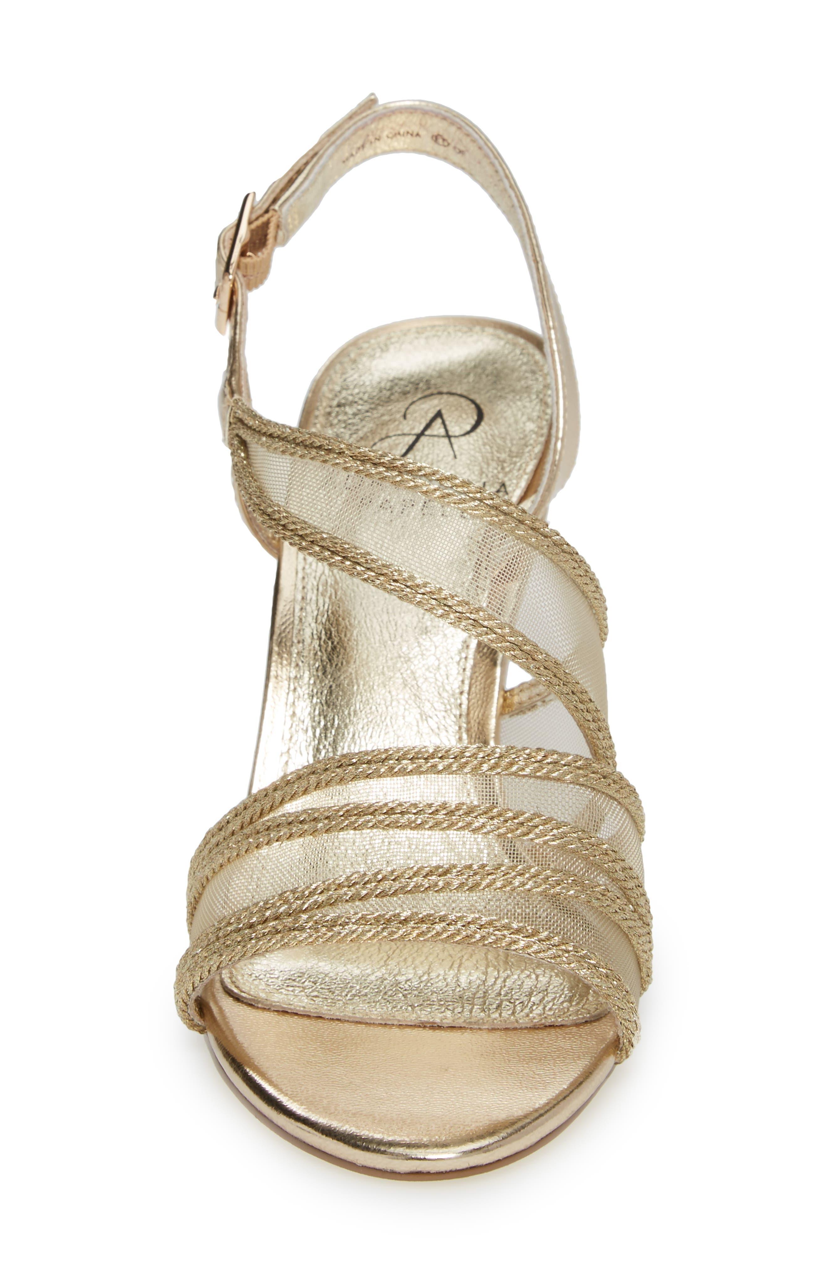 Adelphi Asymmetrical Mesh Sandal,                             Alternate thumbnail 4, color,                             Platinum Fabric