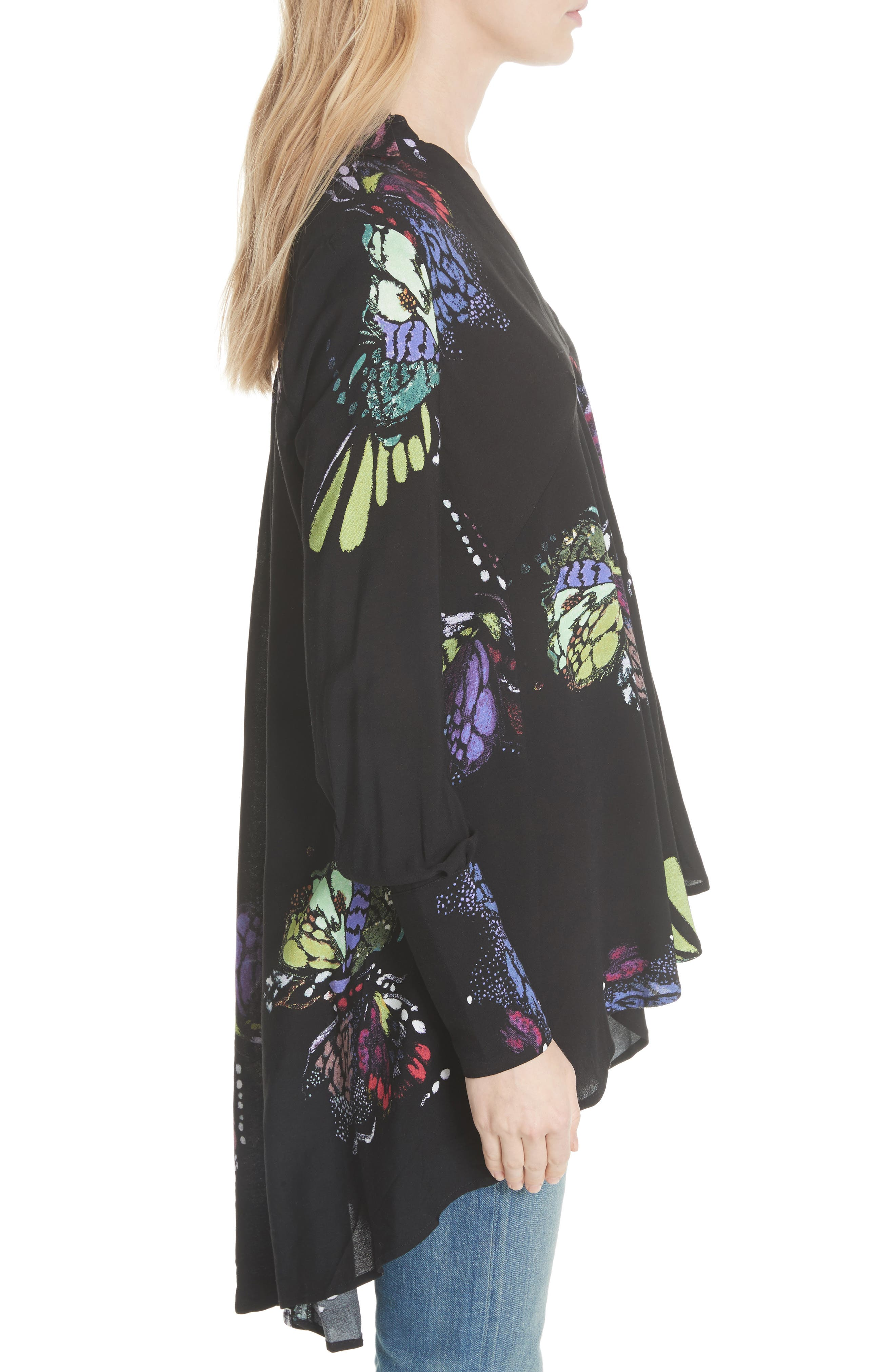 Field of Butterflies Tunic,                             Alternate thumbnail 3, color,                             Black