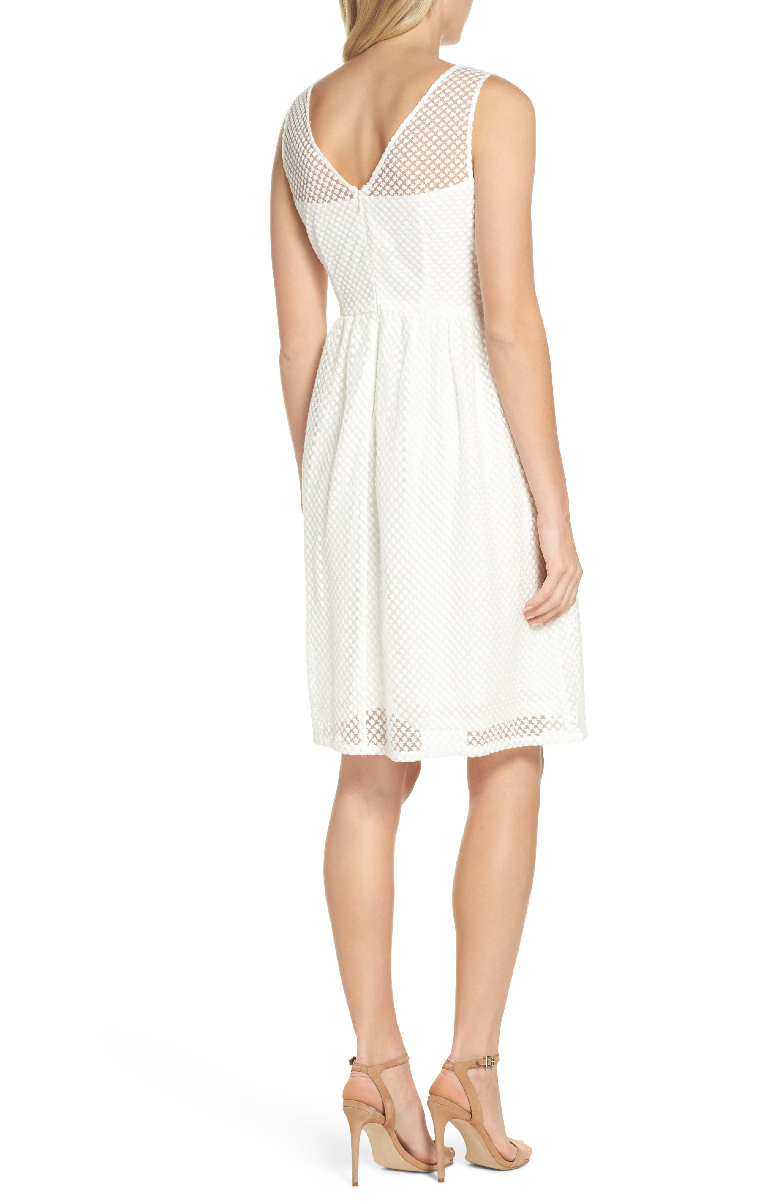 Embroidered Diamonds Fit & Flare Dress,                             Alternate thumbnail 2, color,                             Ivory