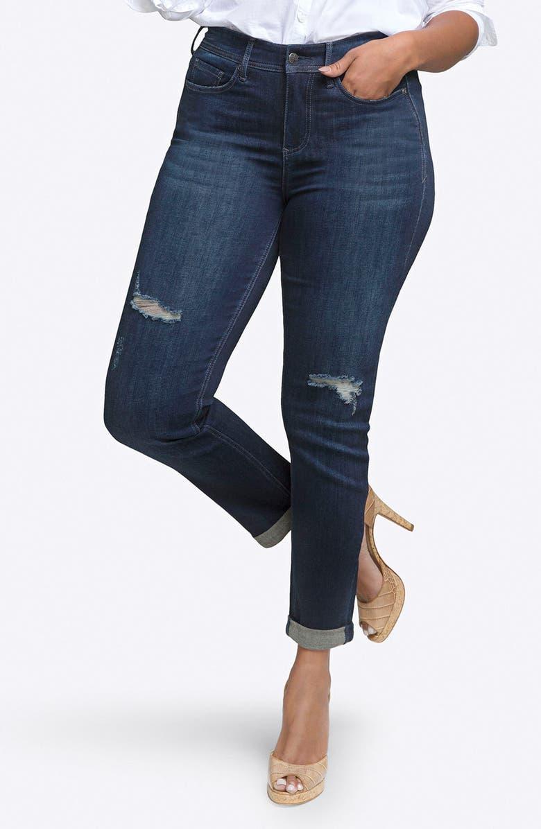Rolled Slim Straight Leg Jeans