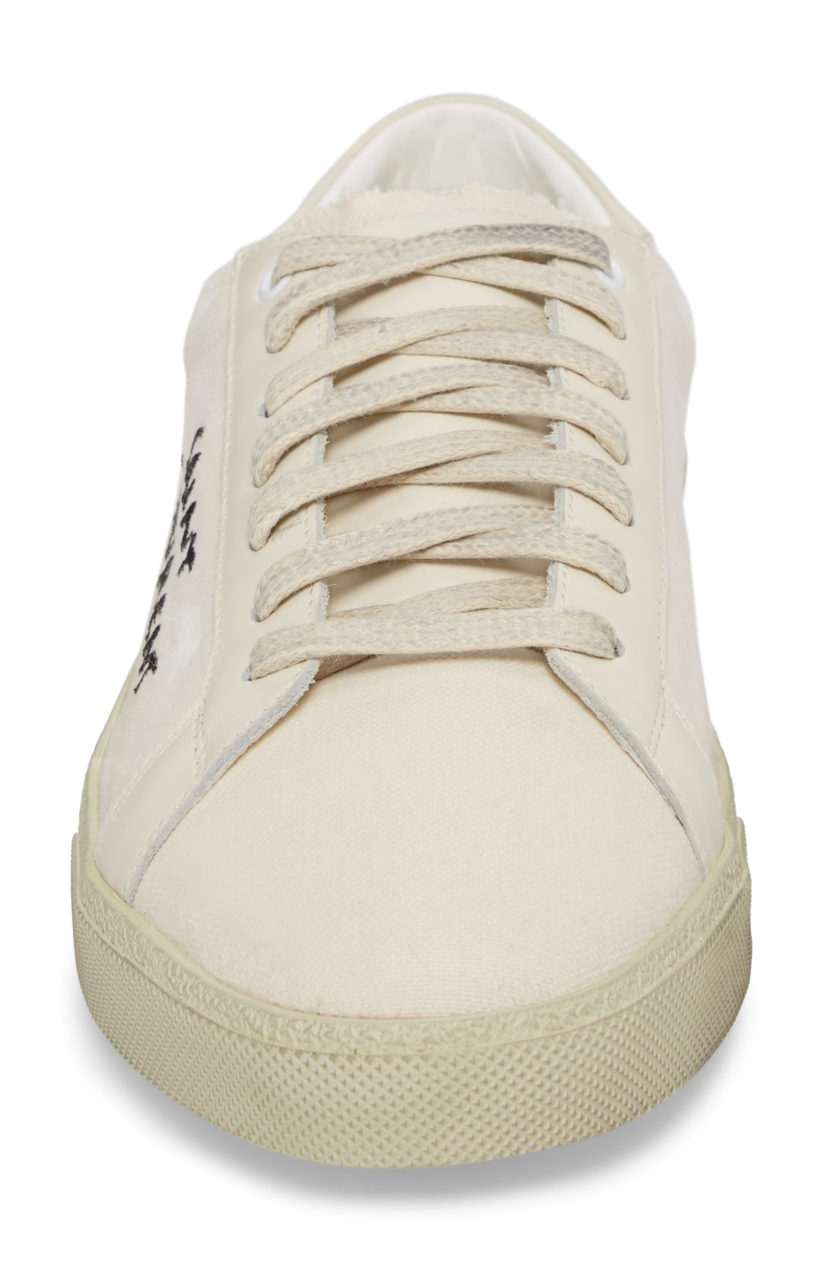Embroidered Low Top Sneaker,                             Alternate thumbnail 4, color,                             Pesca