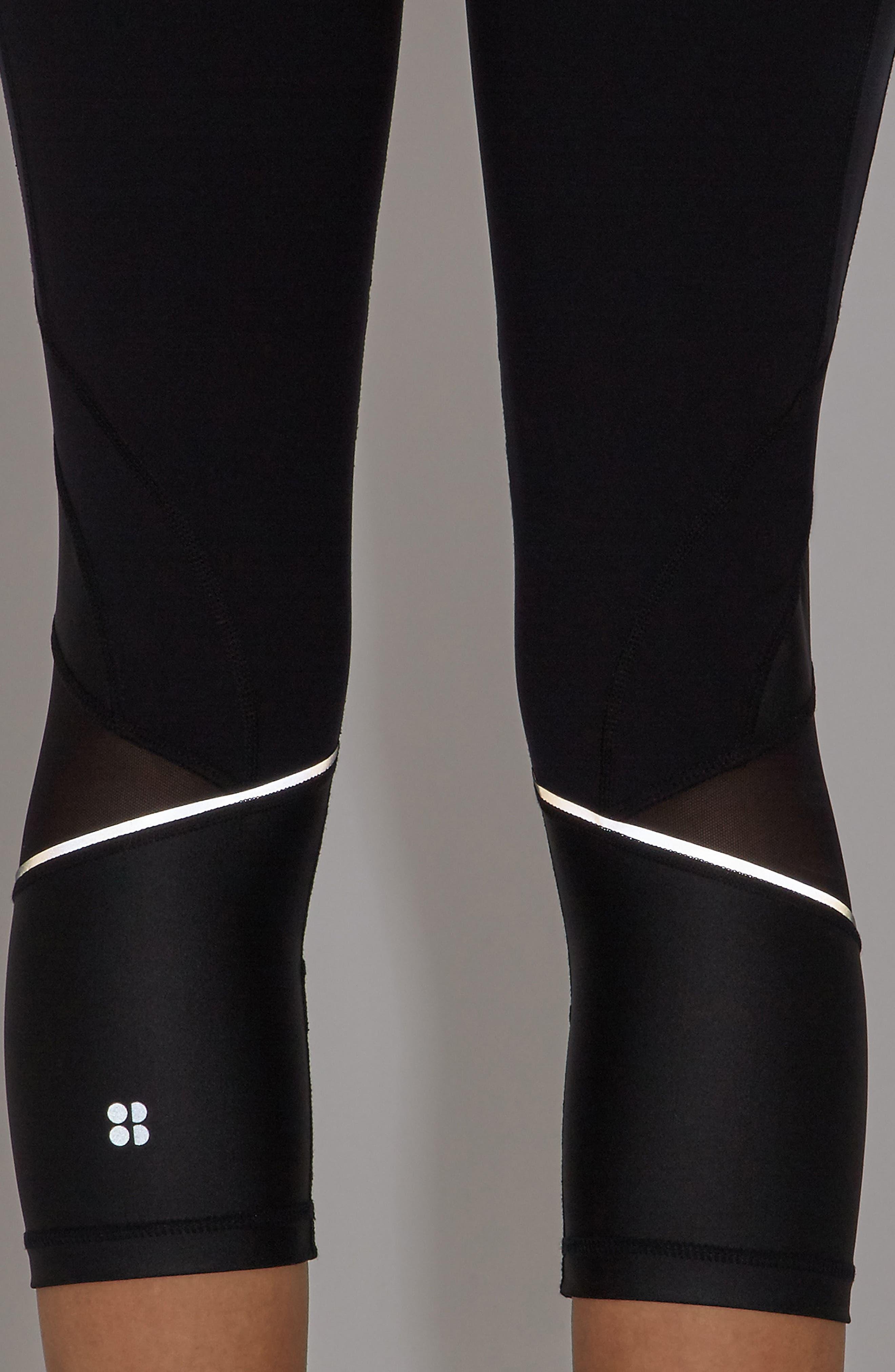 Power Wetlook Crop Leggings,                             Alternate thumbnail 6, color,                             Black