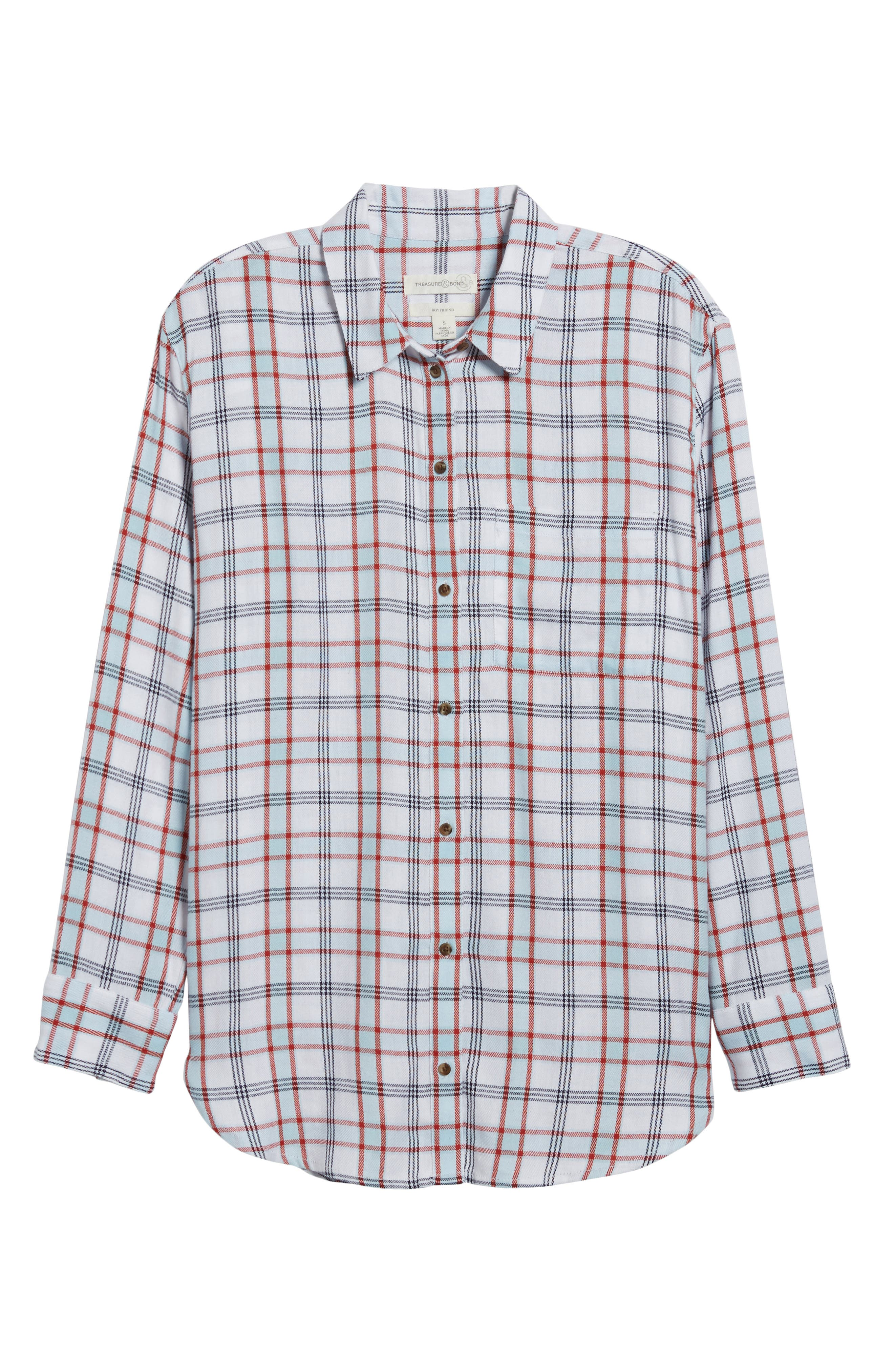 Tartan Boyfriend Shirt,                             Main thumbnail 1, color,                             White Weekend Tartan