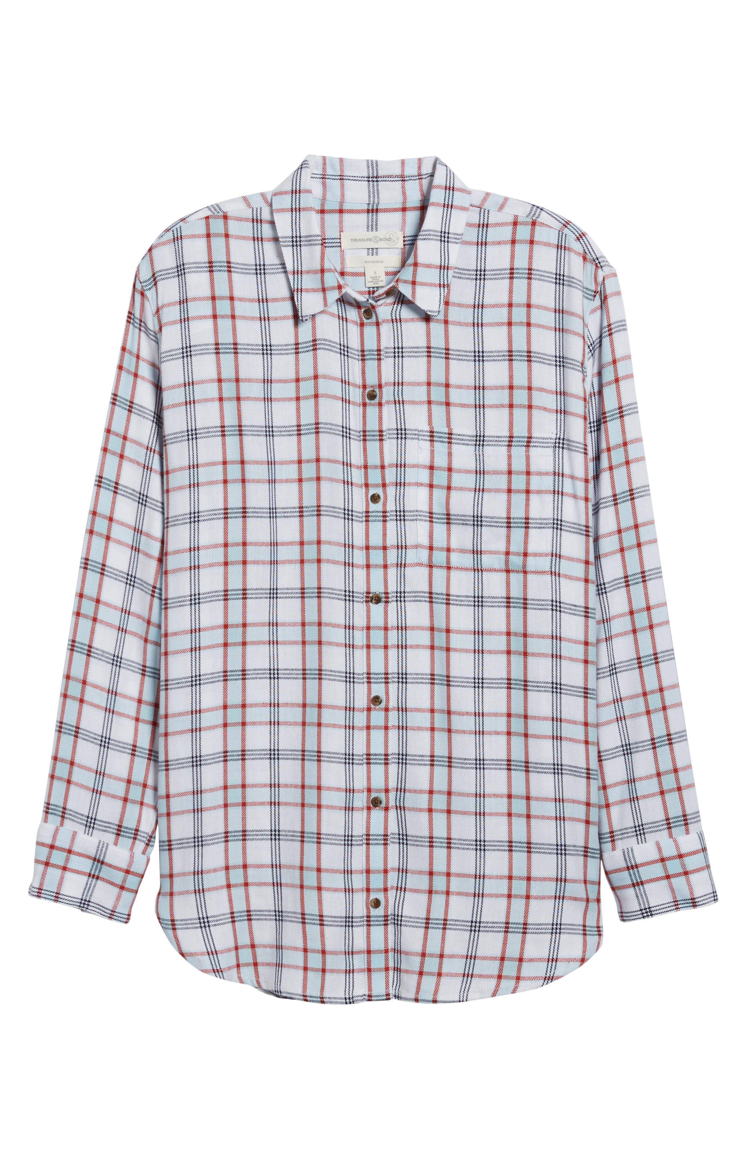 Tartan Boyfriend Shirt,                         Main,                         color, White Weekend Tartan