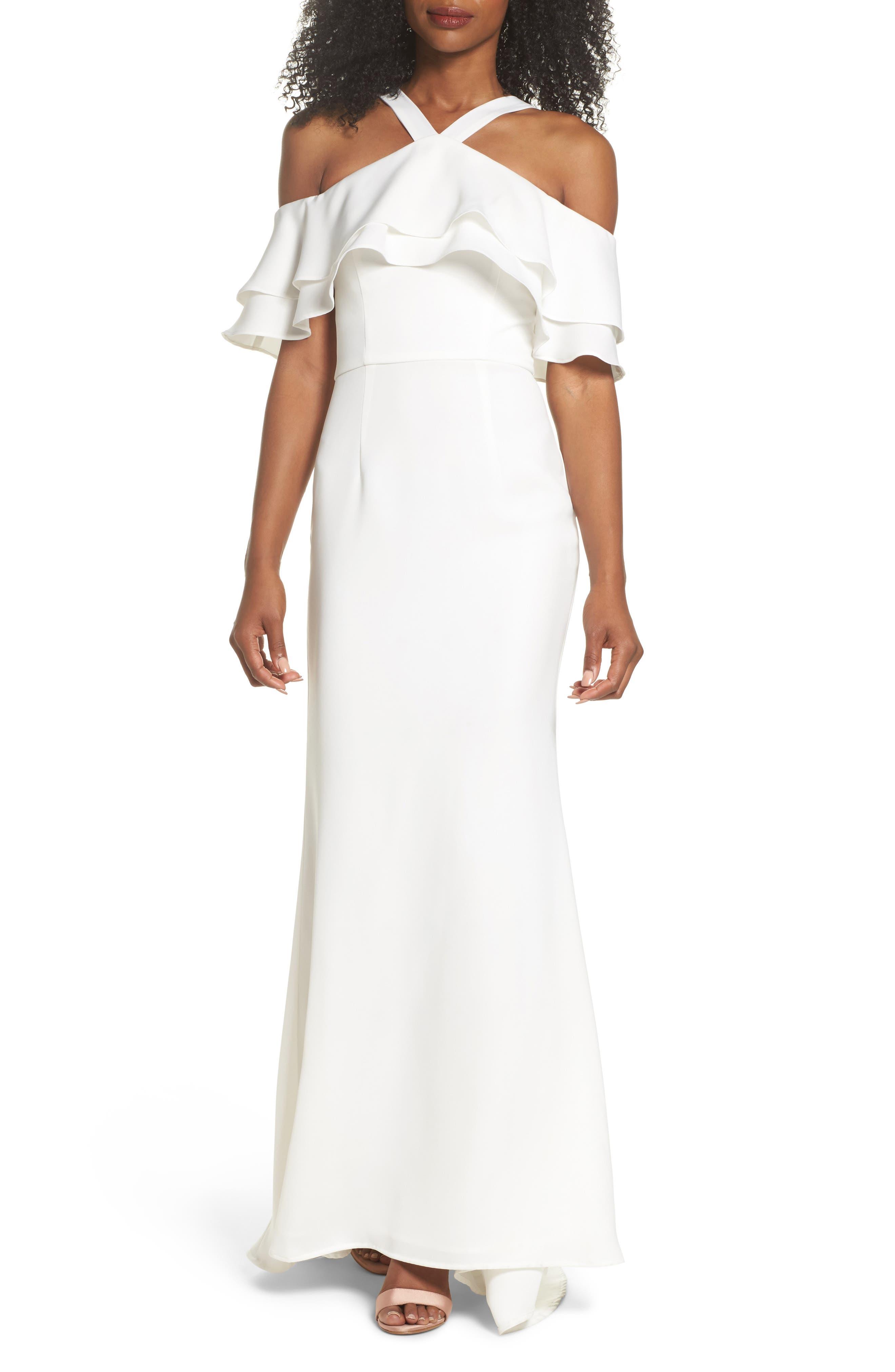 JARLO Dianne Ruffle Top Halter Gown, White   ModeSens