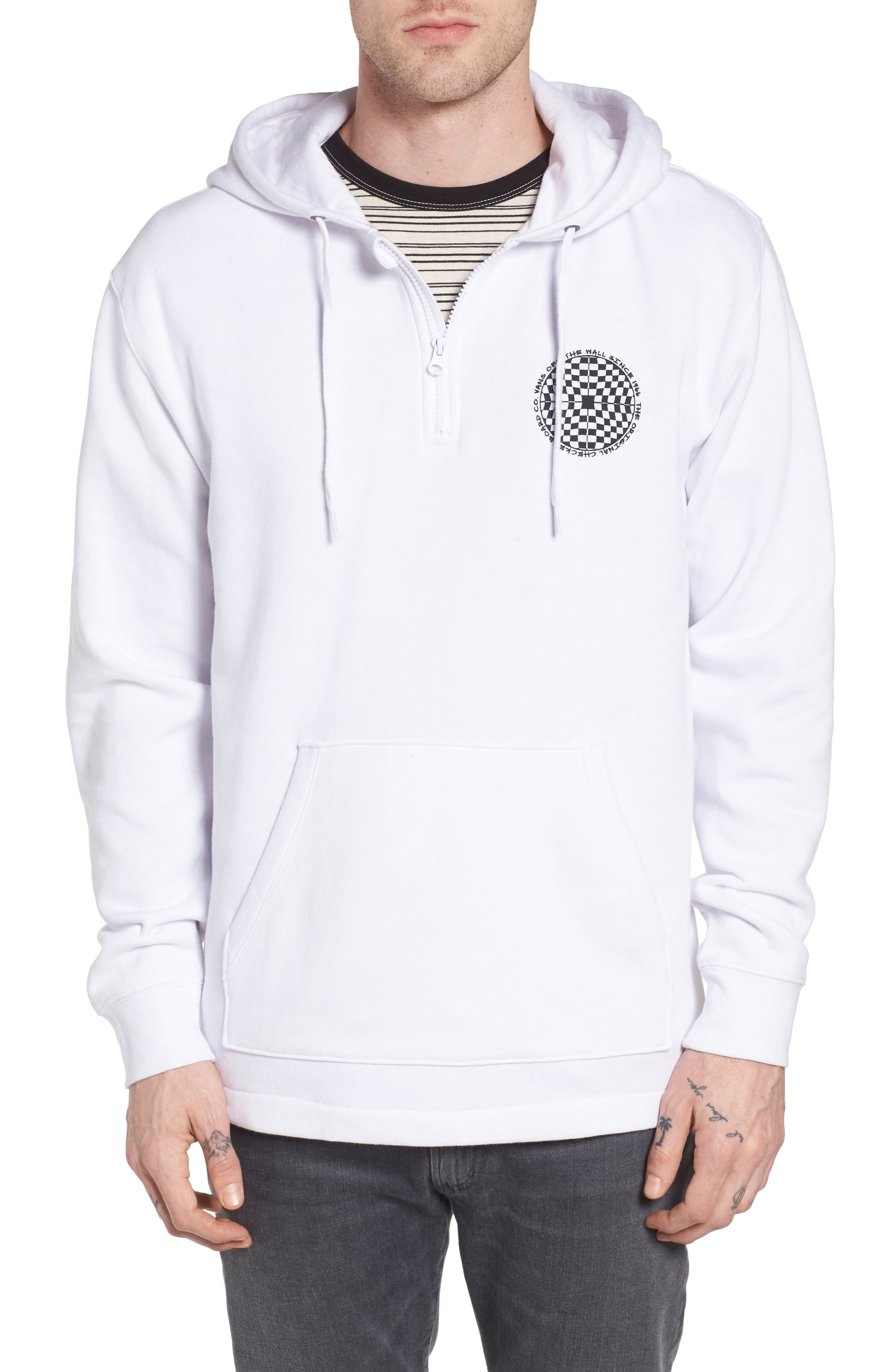 Checkered Quarter Zip Hoodie,                         Main,                         color, White