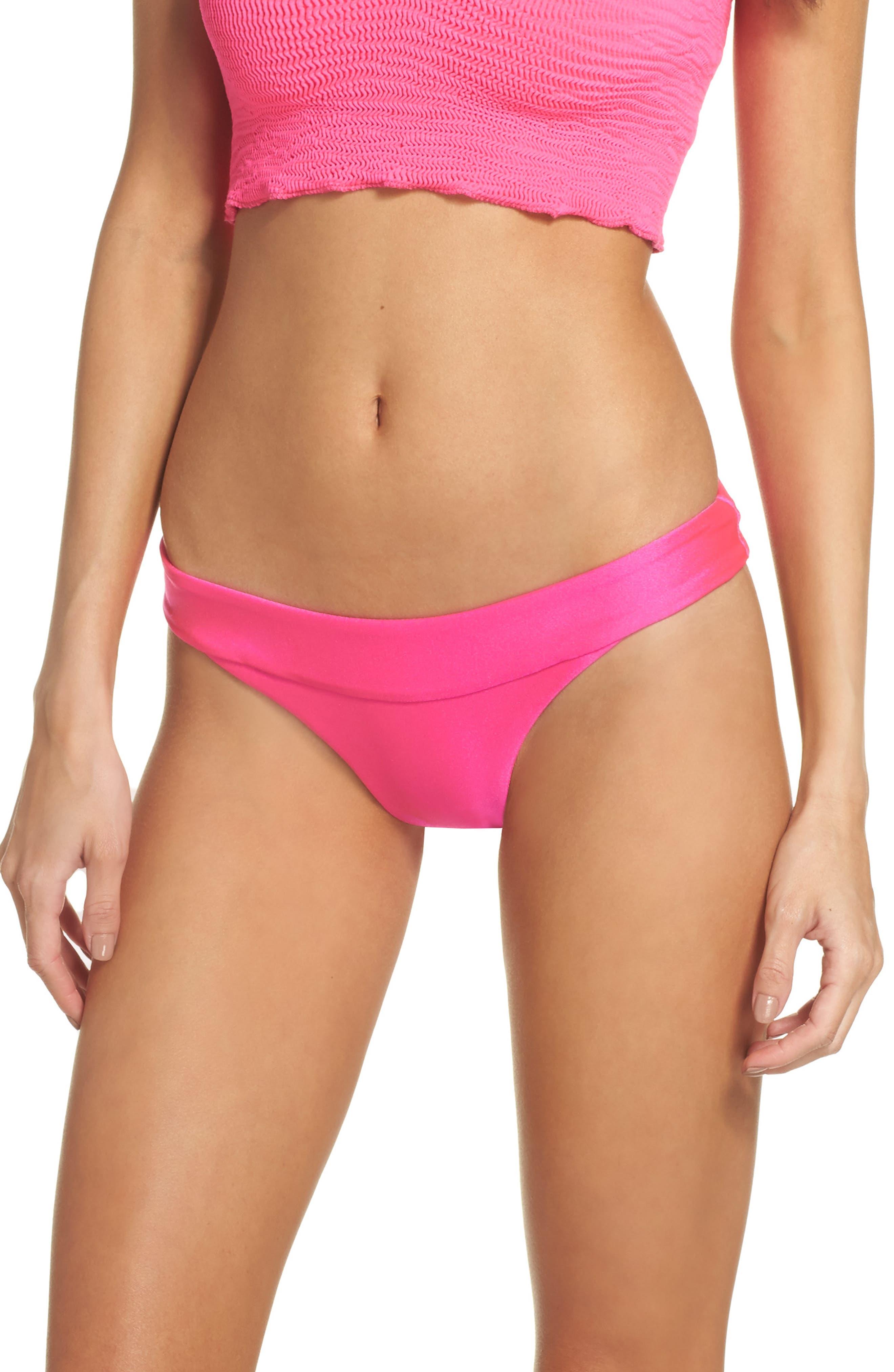 Tubular Solid Bikini Bottoms,                             Main thumbnail 1, color,                             Miami Pink