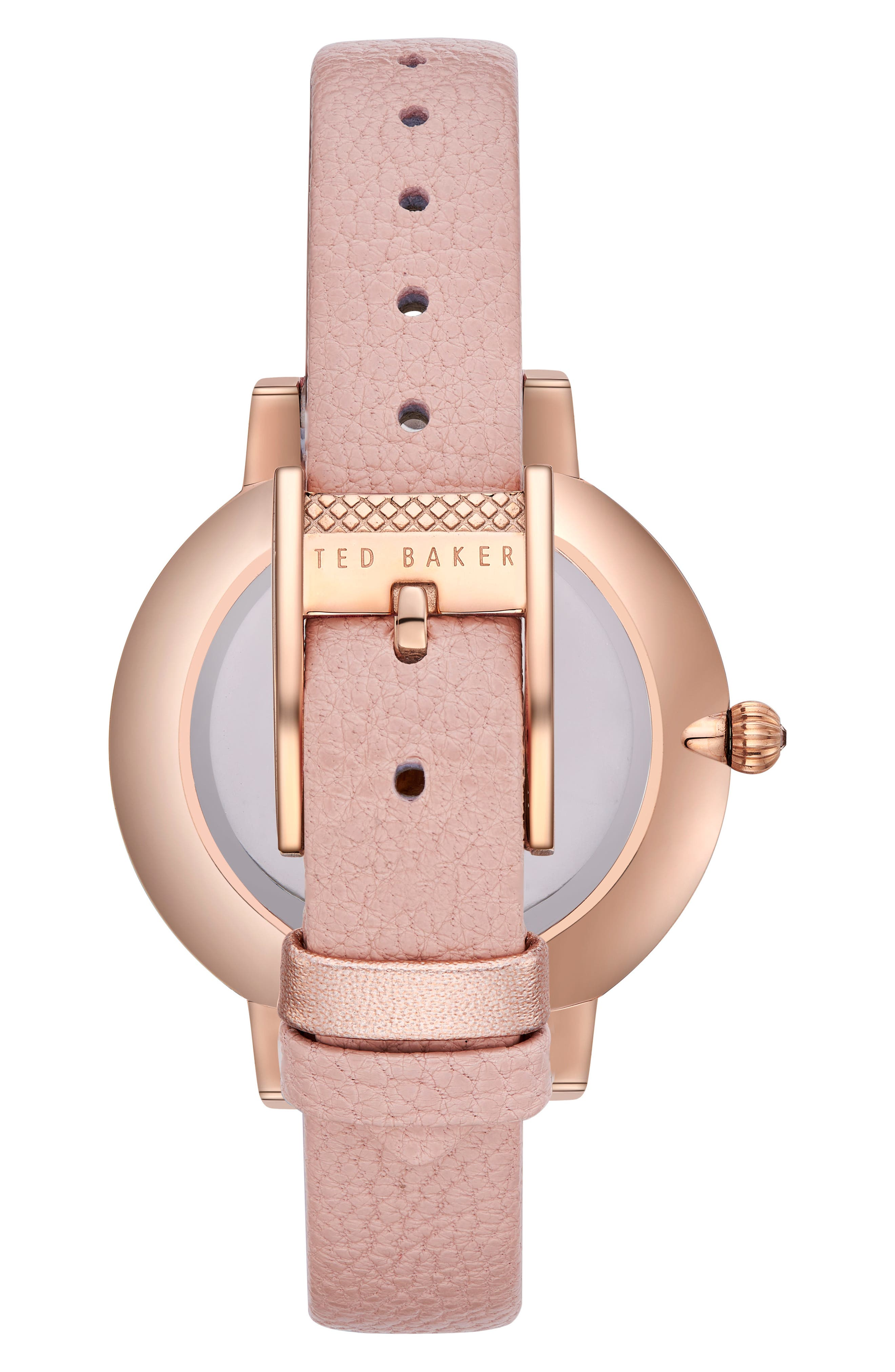 Kate Leather Strap Watch, 38mm,                             Alternate thumbnail 3, color,                             Pink/ Printed/ Rose Gold