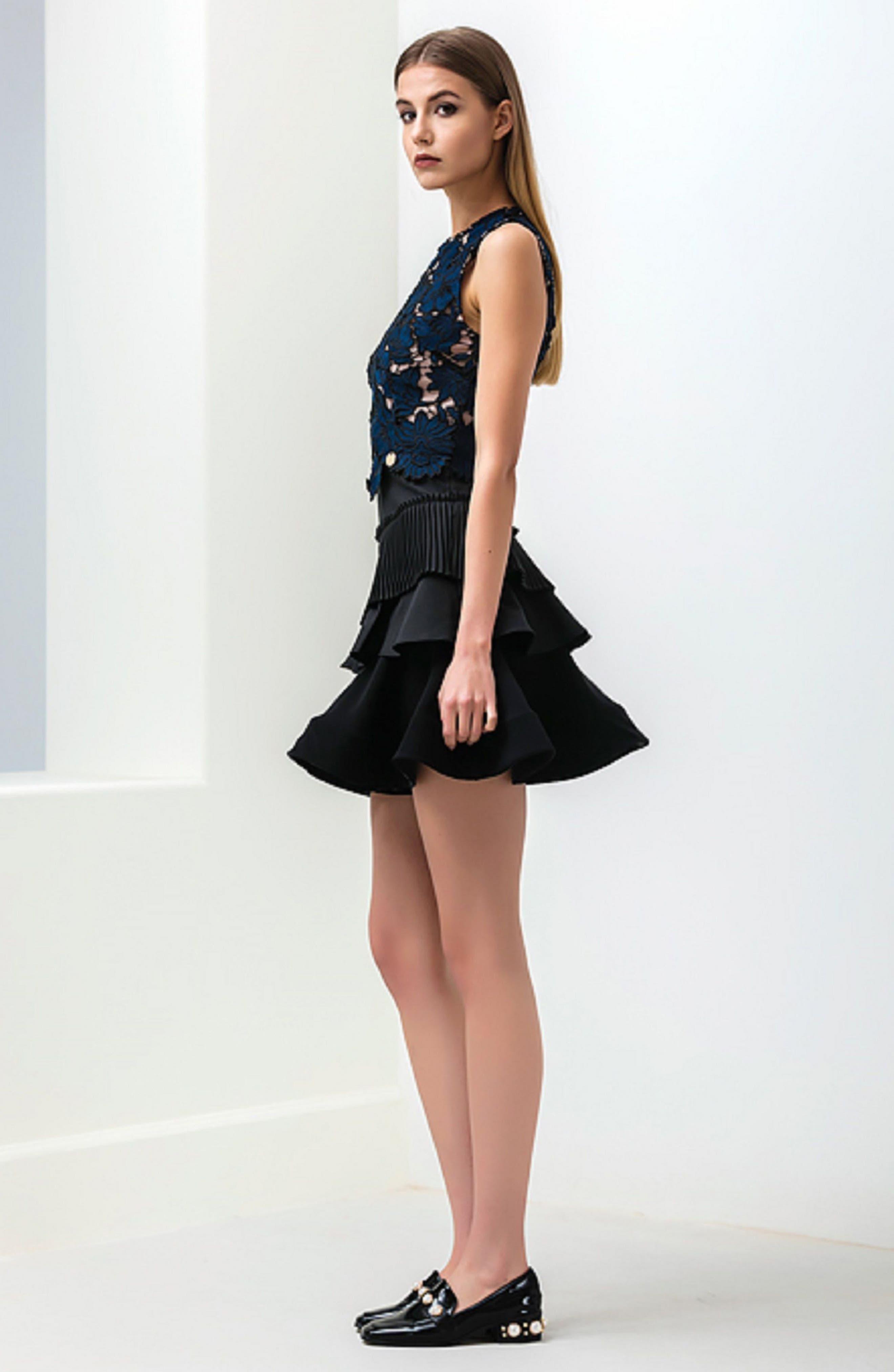 Alexa Lace & Ruffle Tier Dress,                             Alternate thumbnail 2, color,                             Black/ Navy