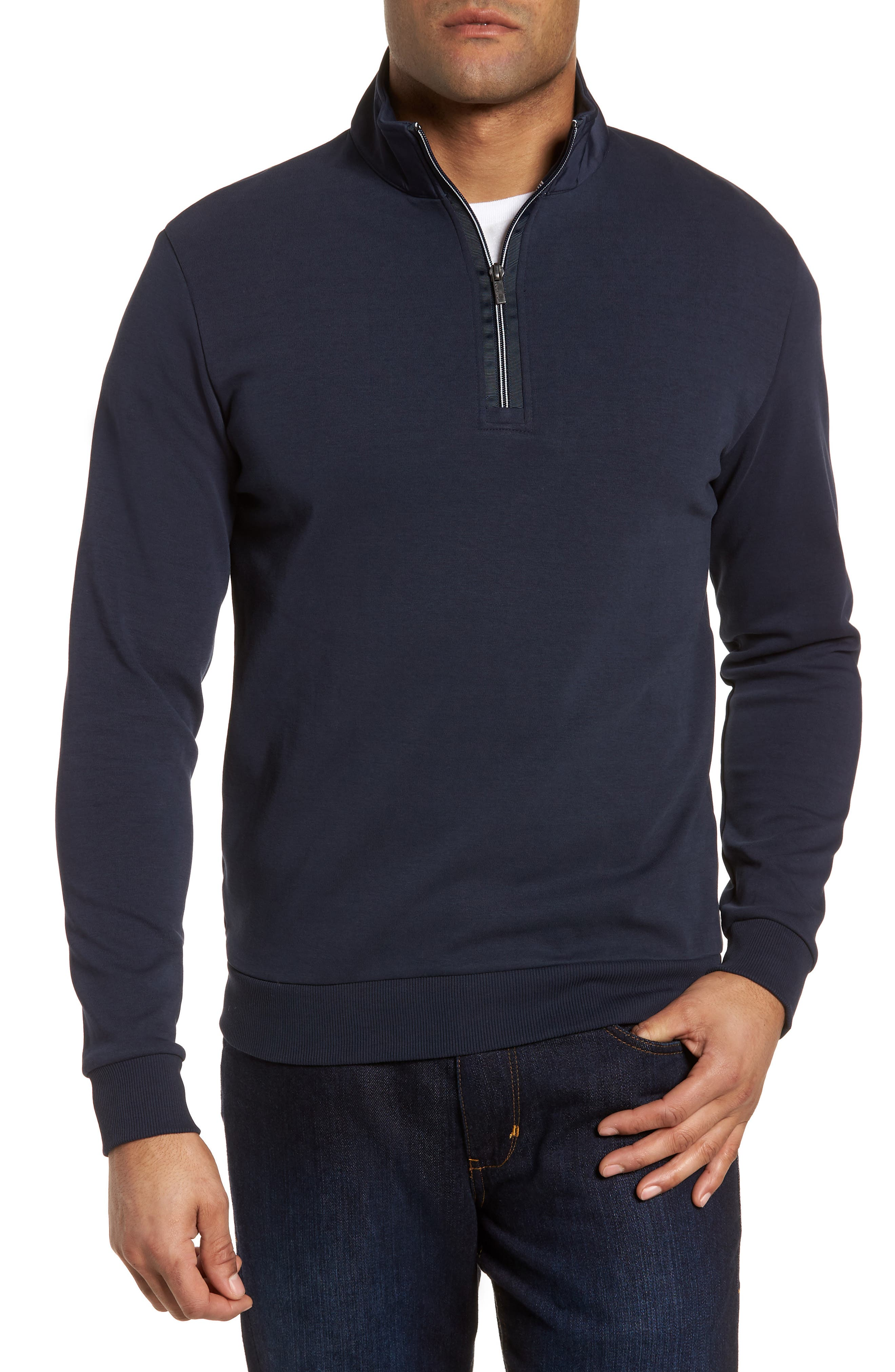 Regular Fit Quarter Zip Pullover,                             Main thumbnail 1, color,                             Navy
