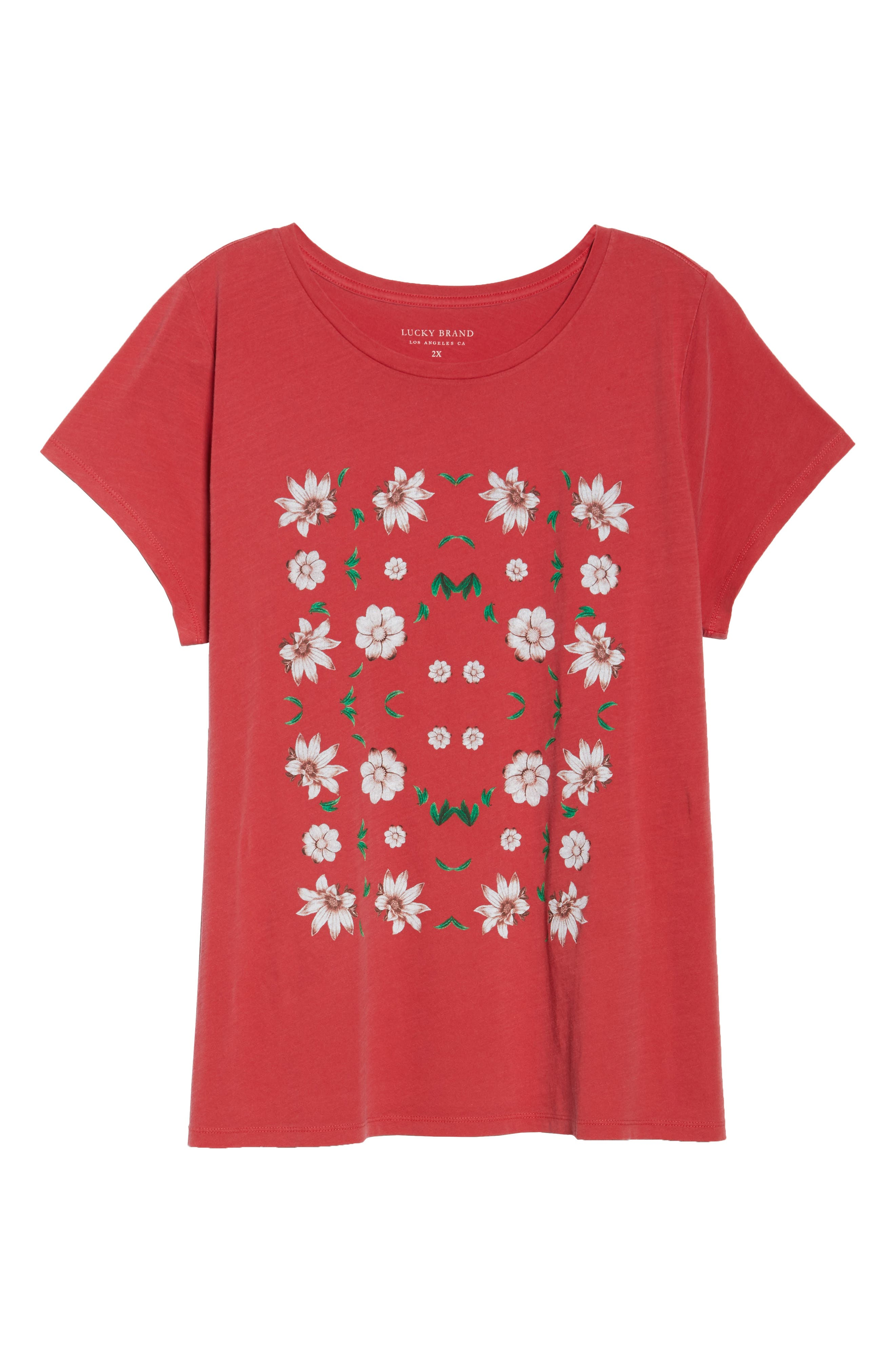 Flowers Tee,                             Alternate thumbnail 6, color,                             Red