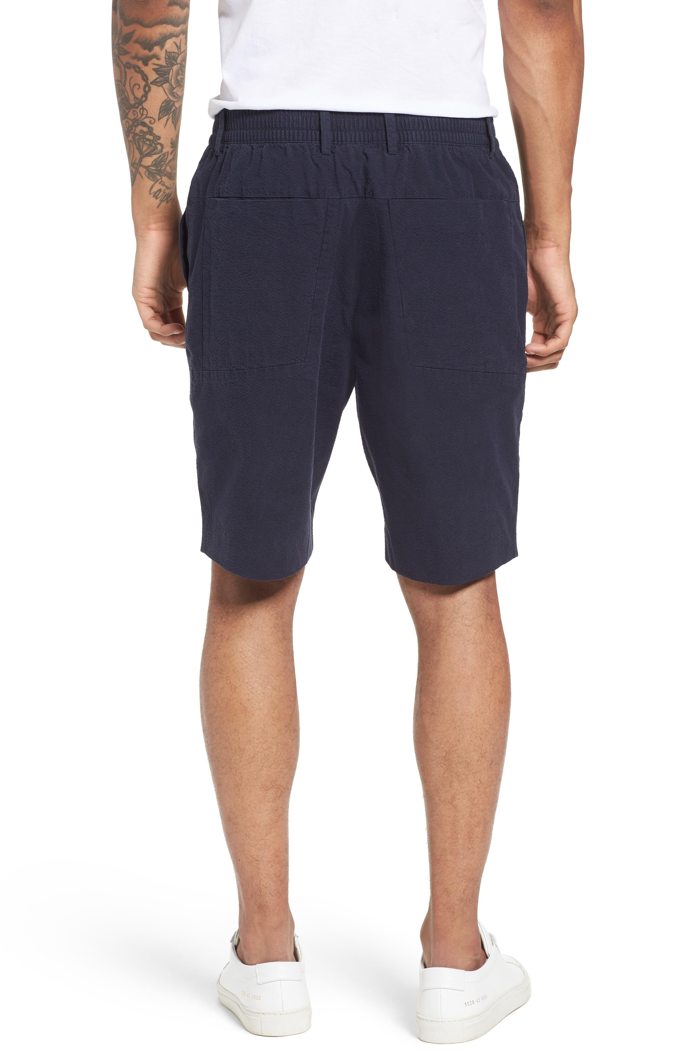 Elastic Waist Seersucker Shorts,                             Alternate thumbnail 2, color,                             Navy Night Seersucker