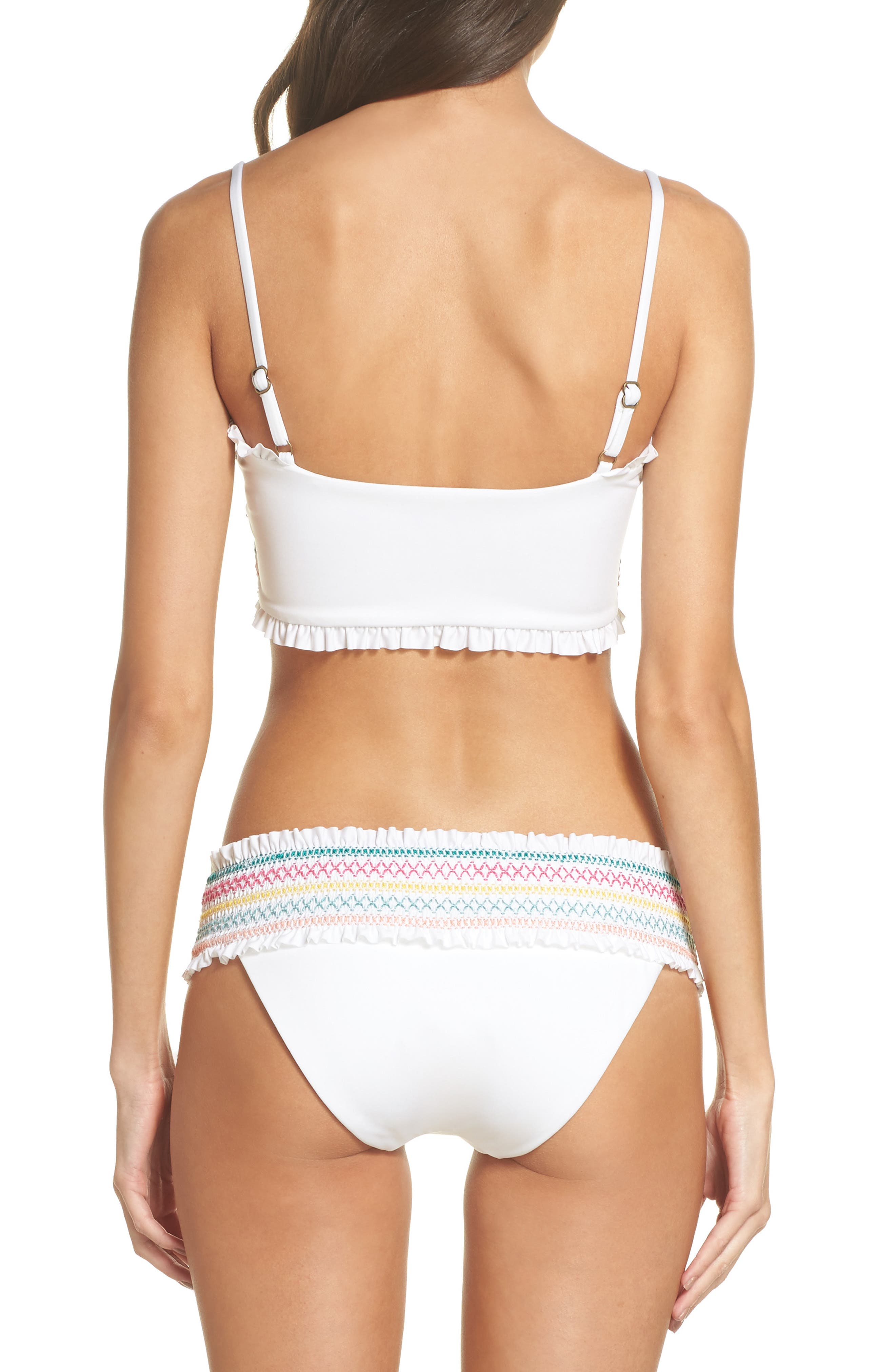 Crystal Cover Smocked Bandeau Bikini Top,                             Alternate thumbnail 6, color,                             White