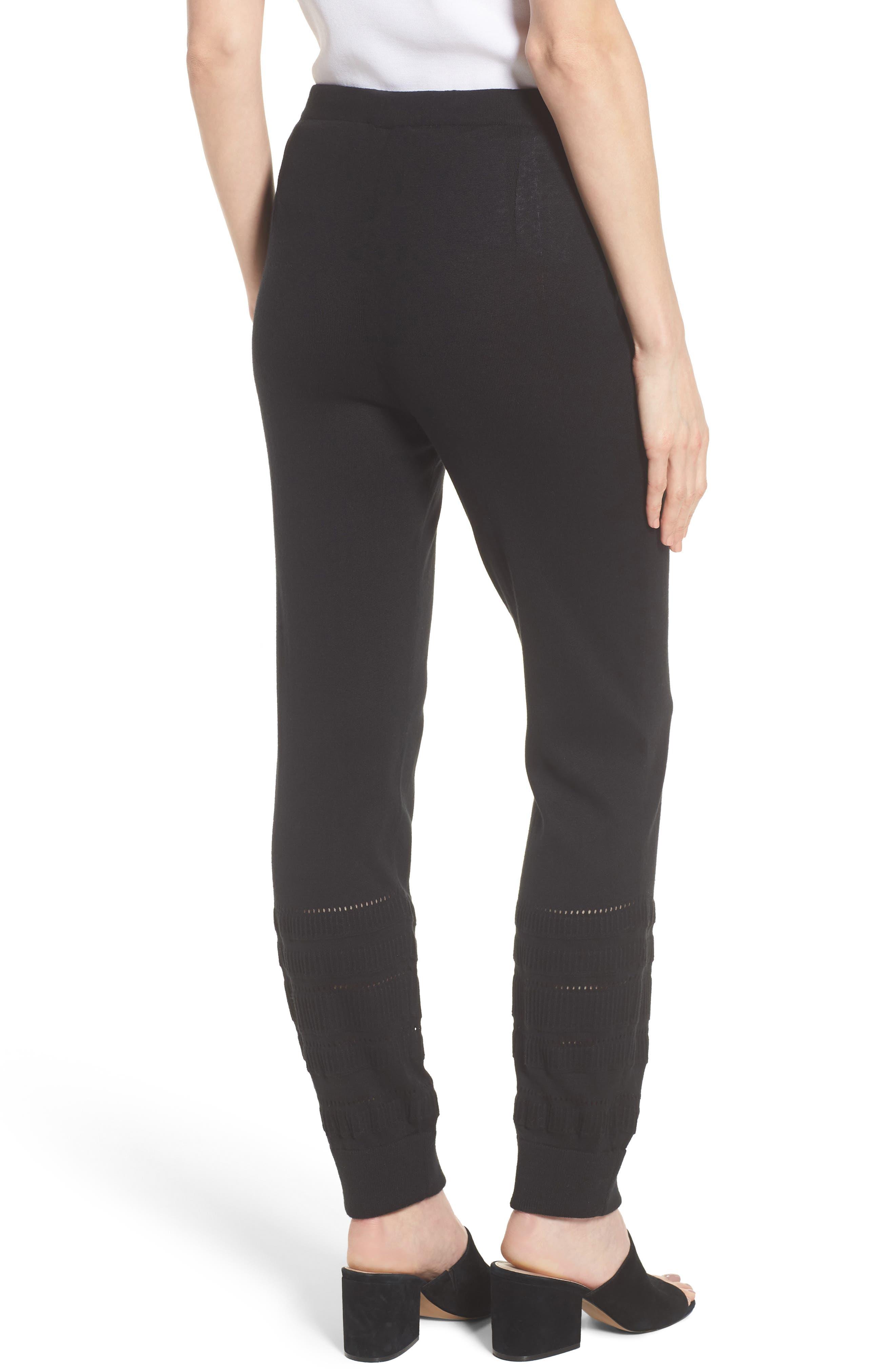 Knit Ankle Pants,                             Alternate thumbnail 2, color,                             Black
