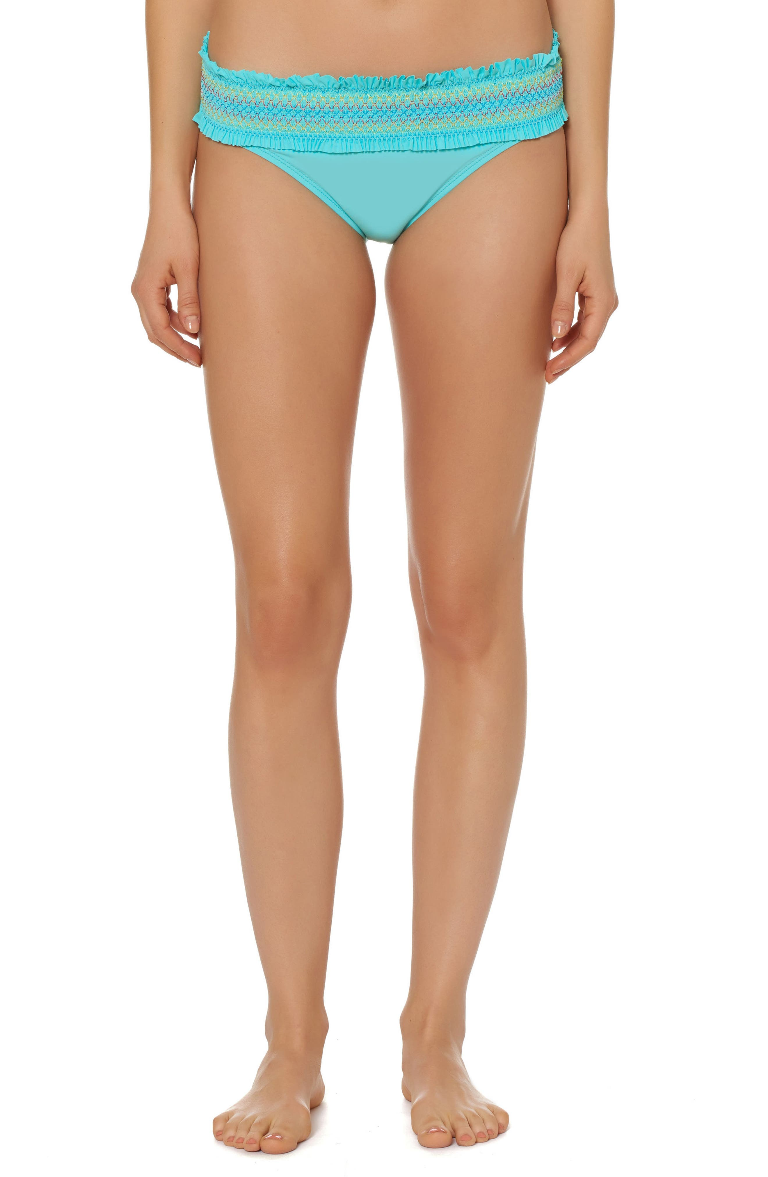 Bleu by Rod Beattie Smocked Hipster Bikini Bottoms,                         Main,                         color, Bleu Fish