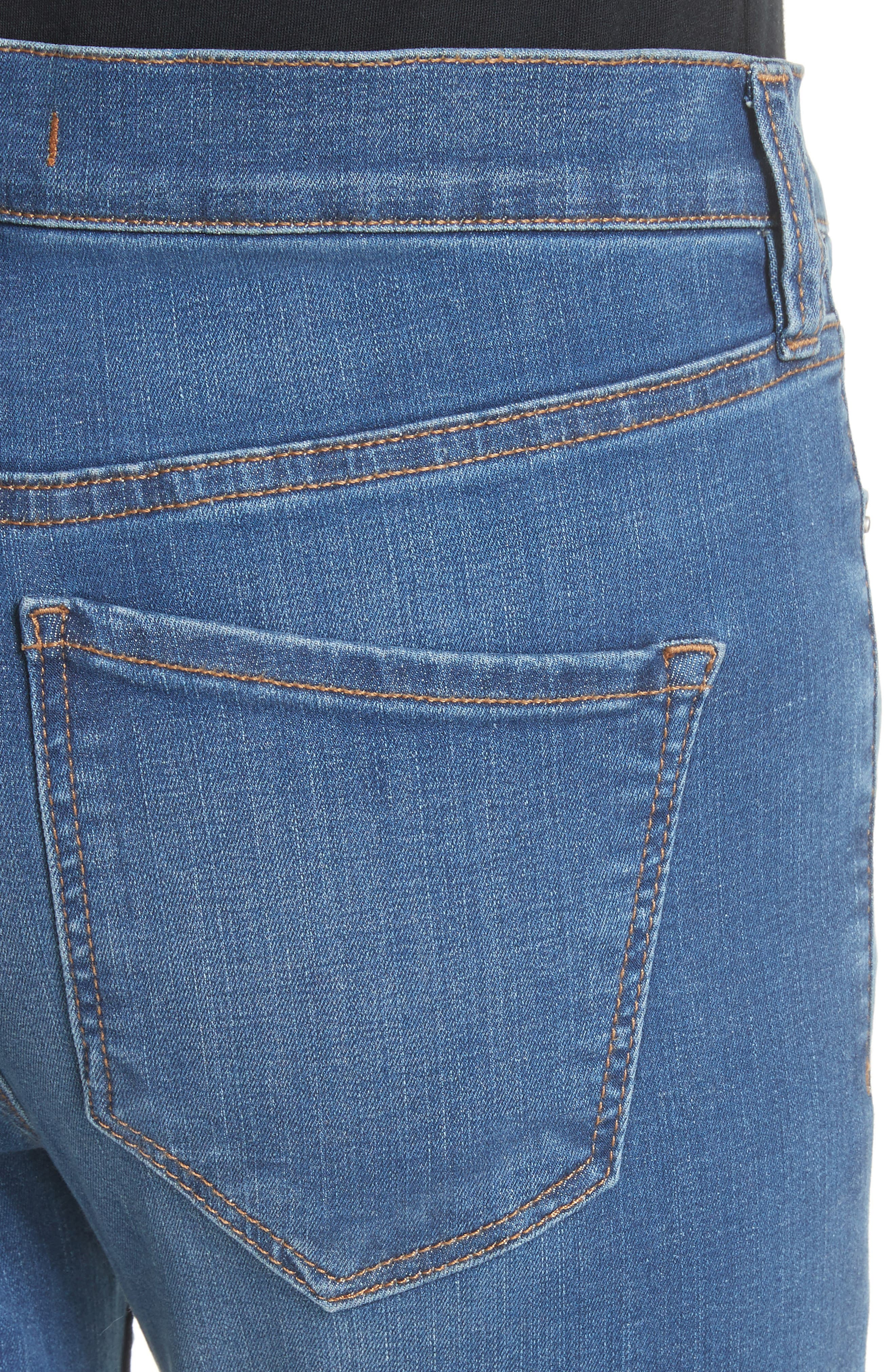 Ripped Crop Skinny Jeans,                             Alternate thumbnail 4, color,                             Blue