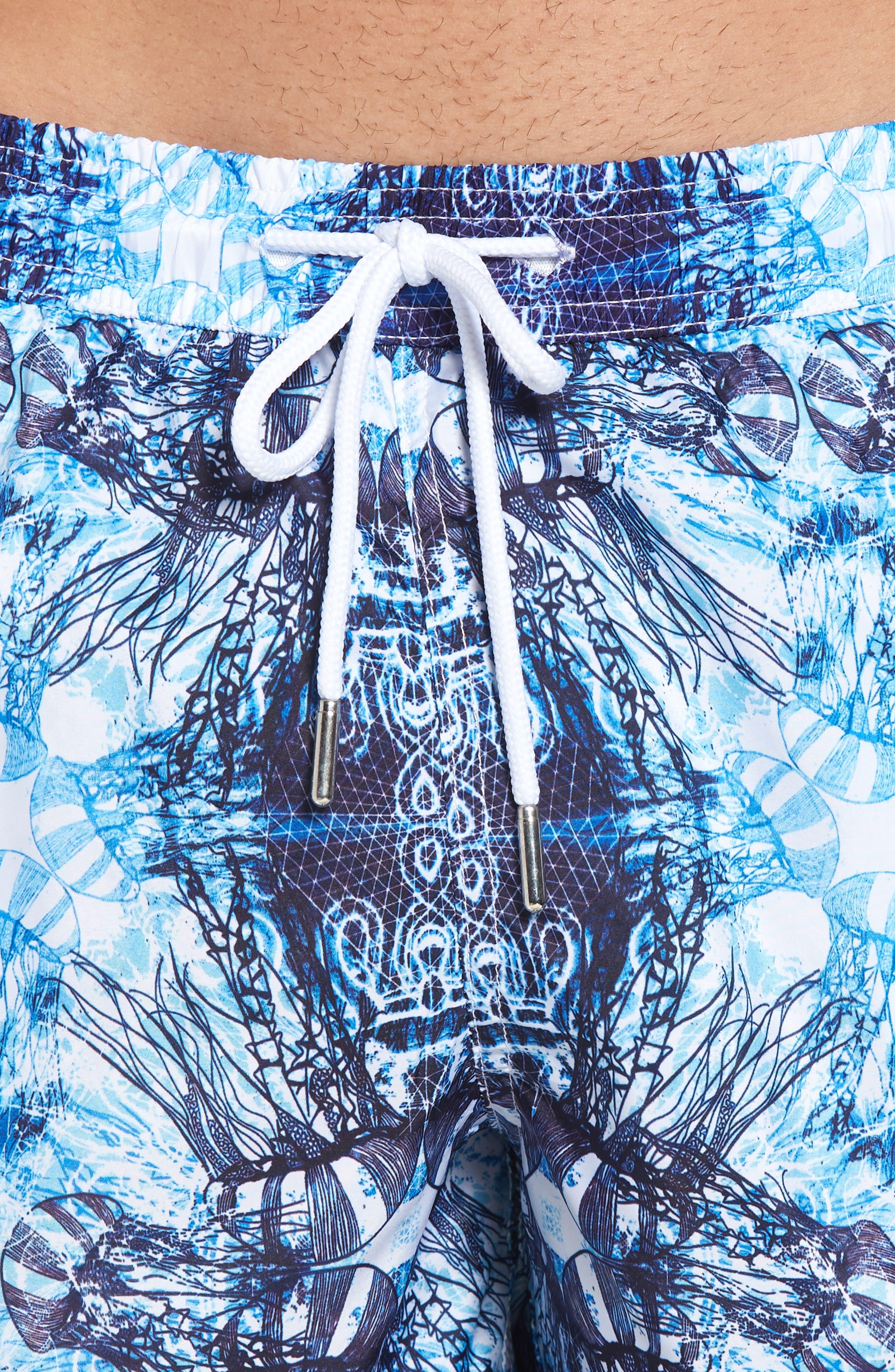 Trim Fit Swim Shorts,                             Alternate thumbnail 4, color,                             Light Blue Jelly Fish