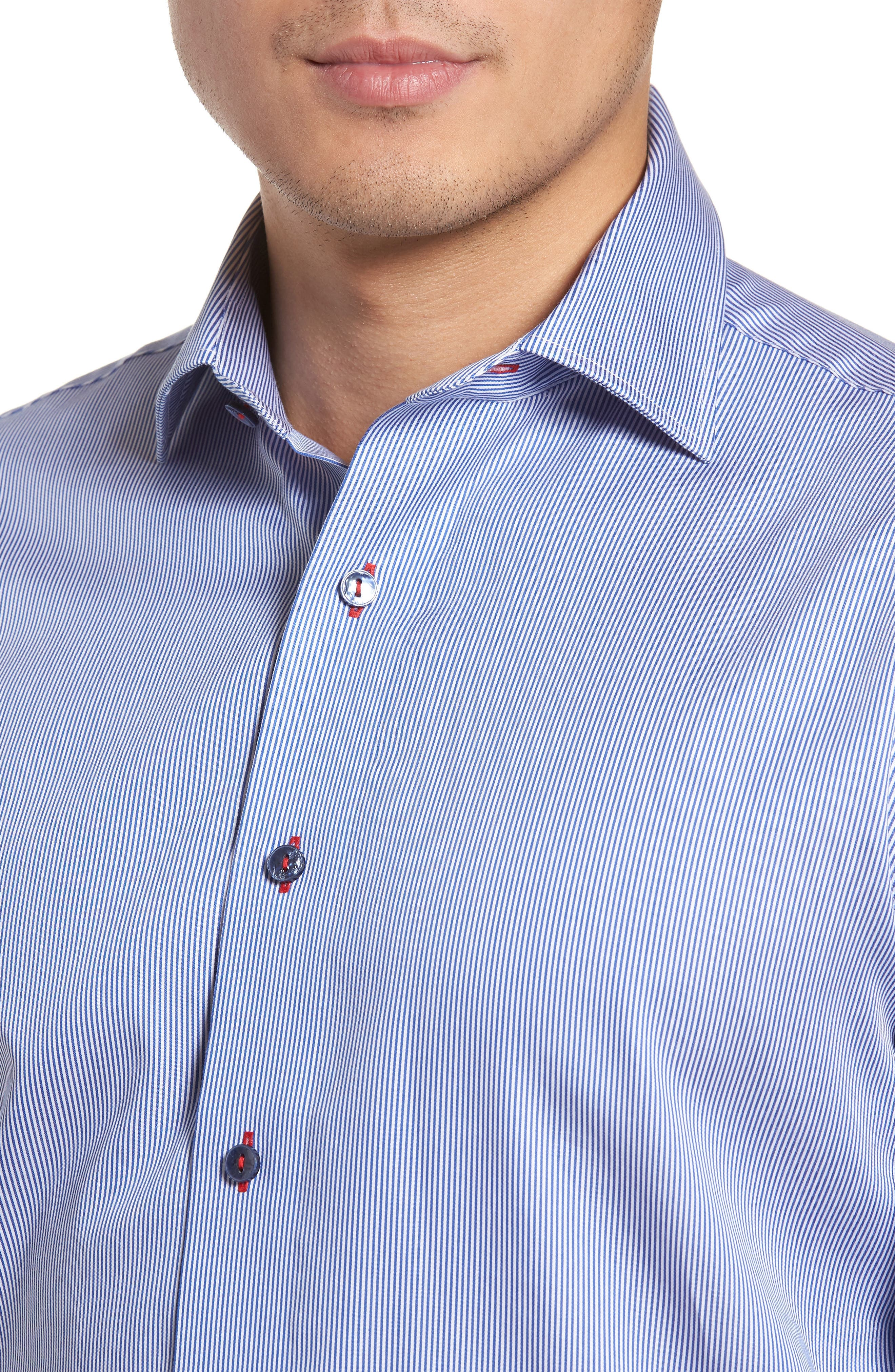 Trim Fit Textured Stripe Dress Shirt,                             Alternate thumbnail 2, color,                             Navy/ White