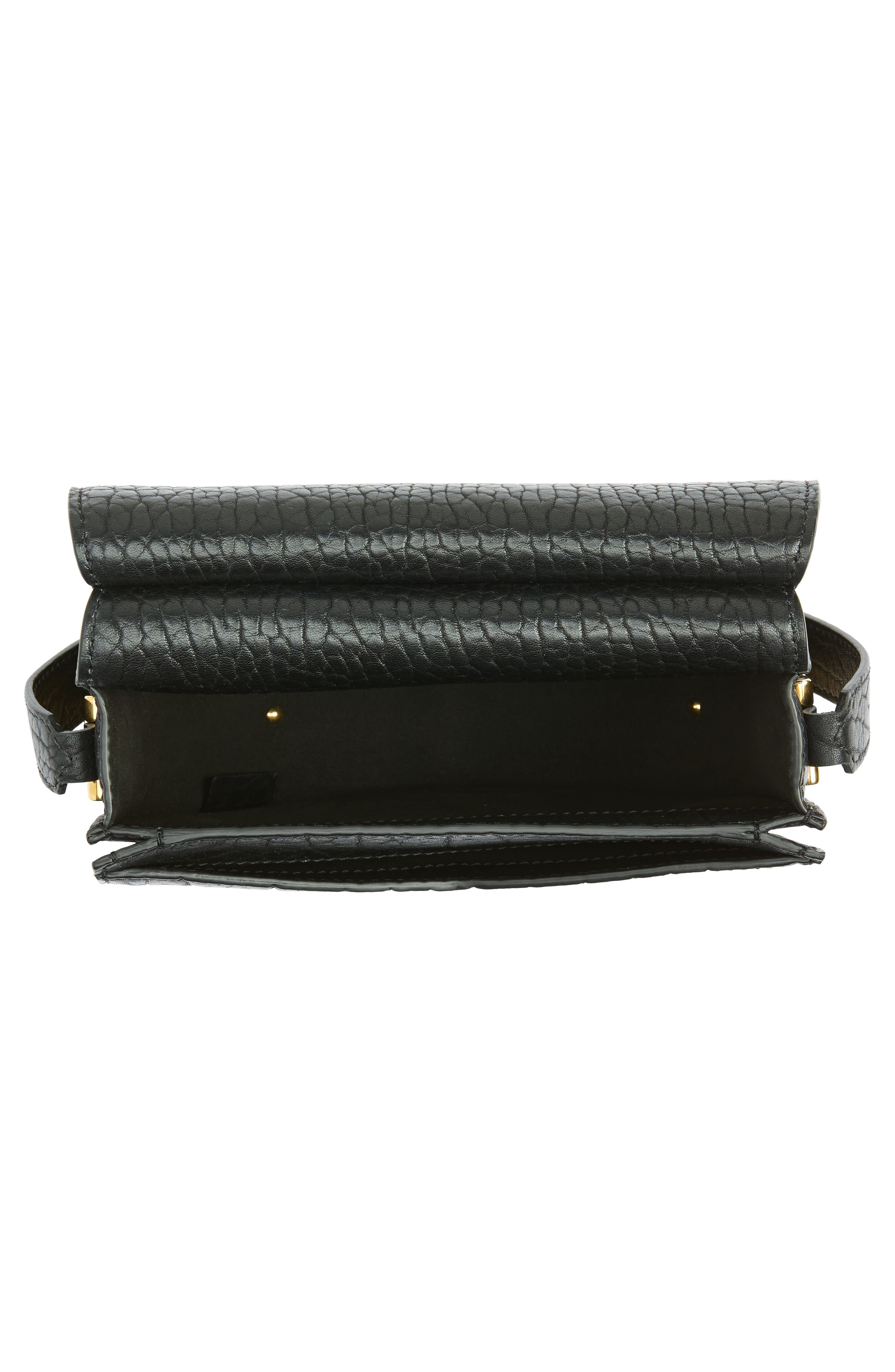 Infinity Calfskin Leather Saddle Bag,                             Alternate thumbnail 4, color,                             Black