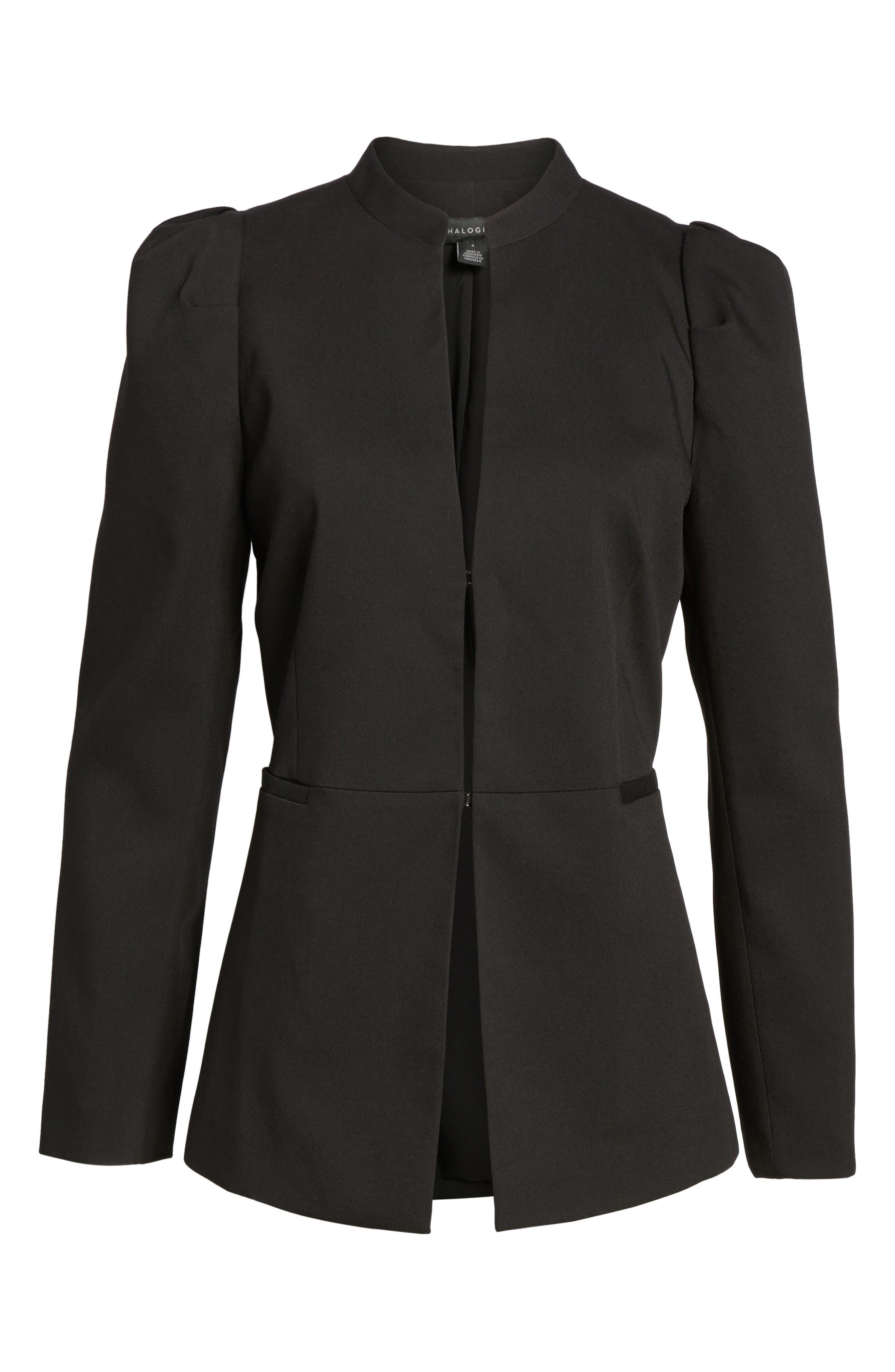 Puff Shoulder Jacket,                             Alternate thumbnail 6, color,                             Black