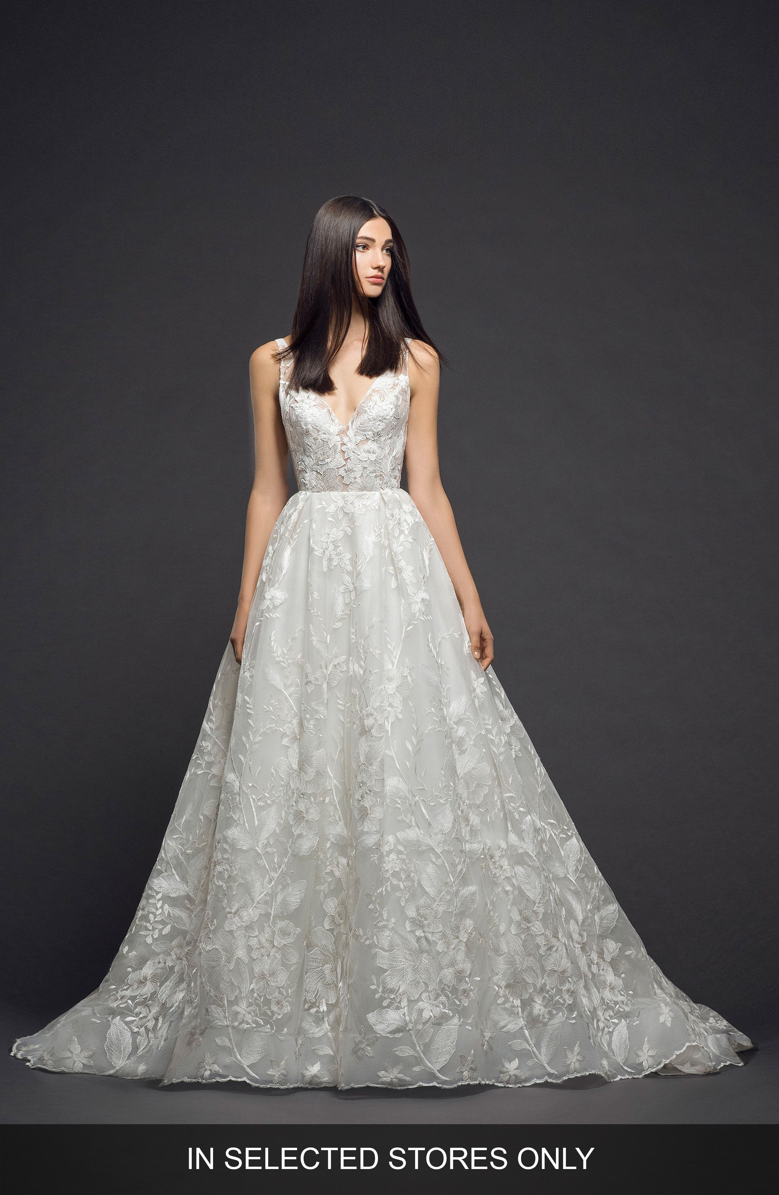 Floral Embroidered Tulle Gown,                         Main,                         color, Ivory Nude