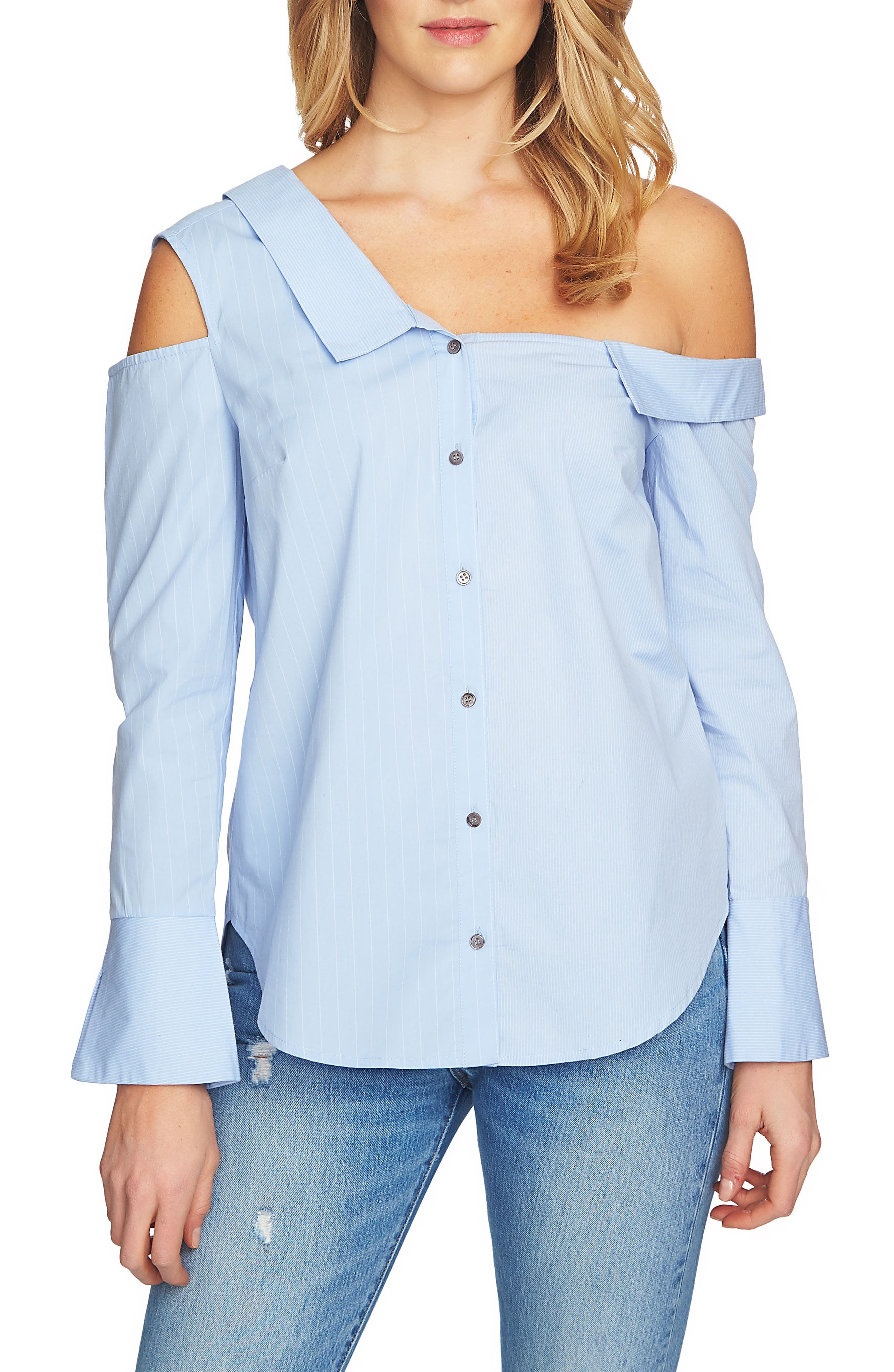 Mixed Stripe One-Shoulder Top,                             Main thumbnail 1, color,                             Blue Pond