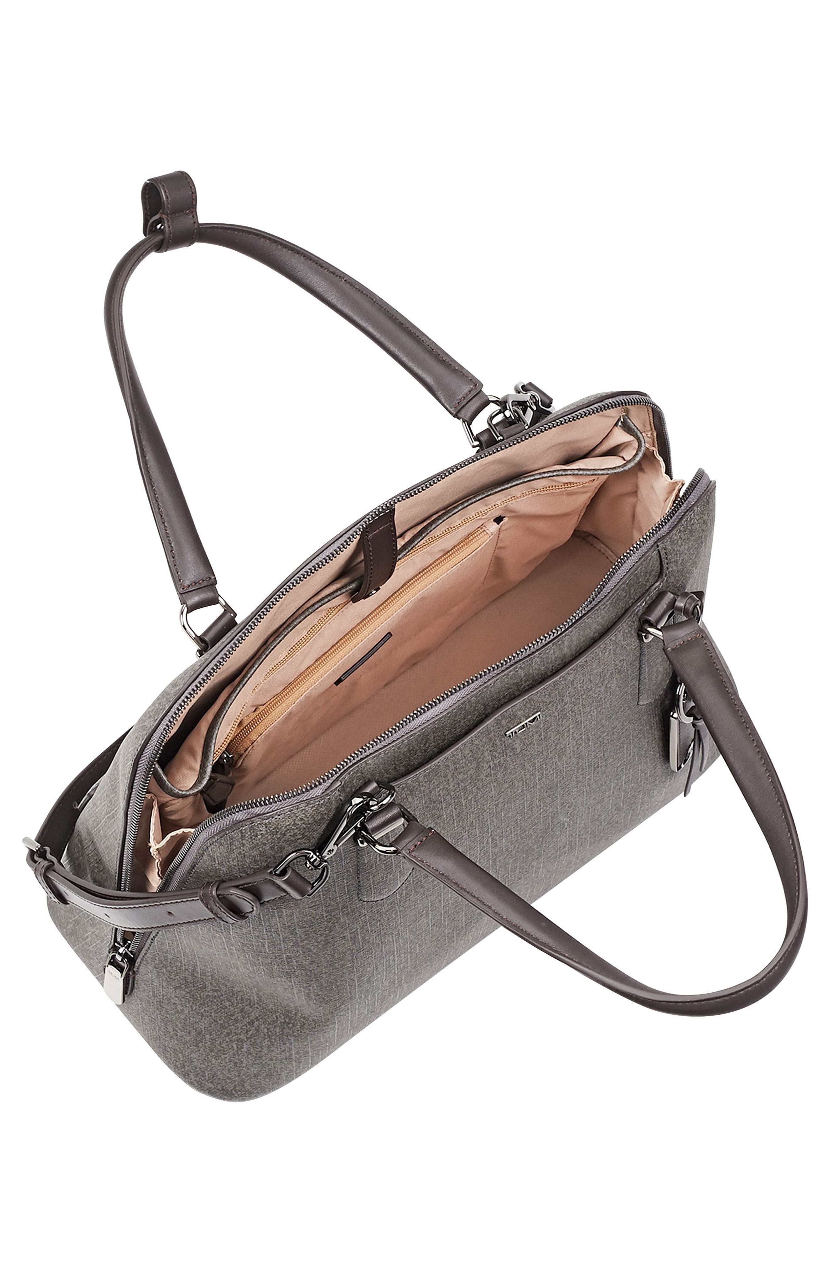 Stanton – Deonne Domed Coated Canvas Satchel,                             Alternate thumbnail 4, color,                             Earl Grey